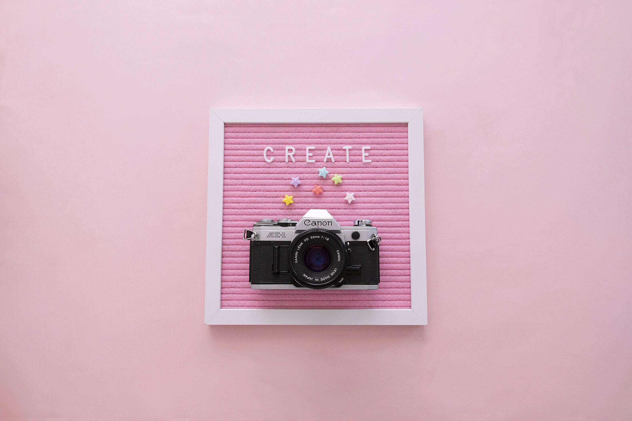 """""""Create"""" Word on Pink Letter Board with Camera Free Stock Photo"""