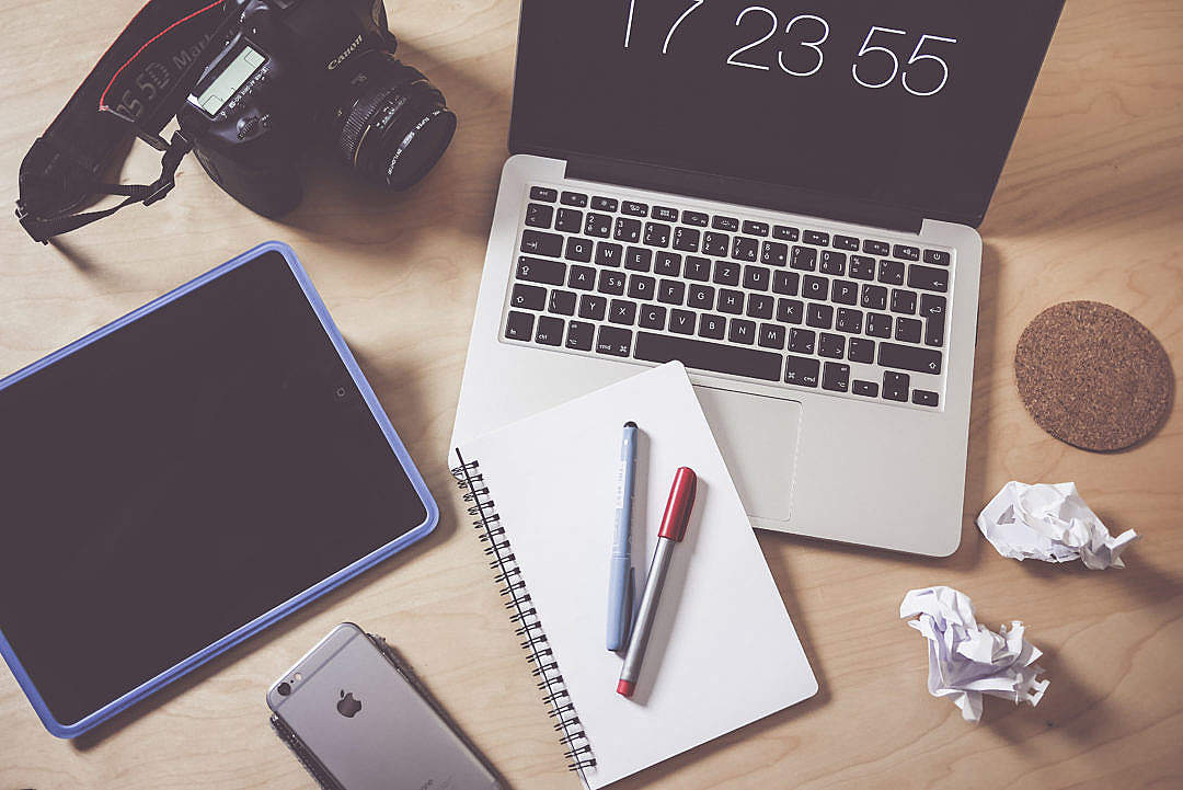 Download Creative Designer & Photographer Workspace FREE Stock Photo