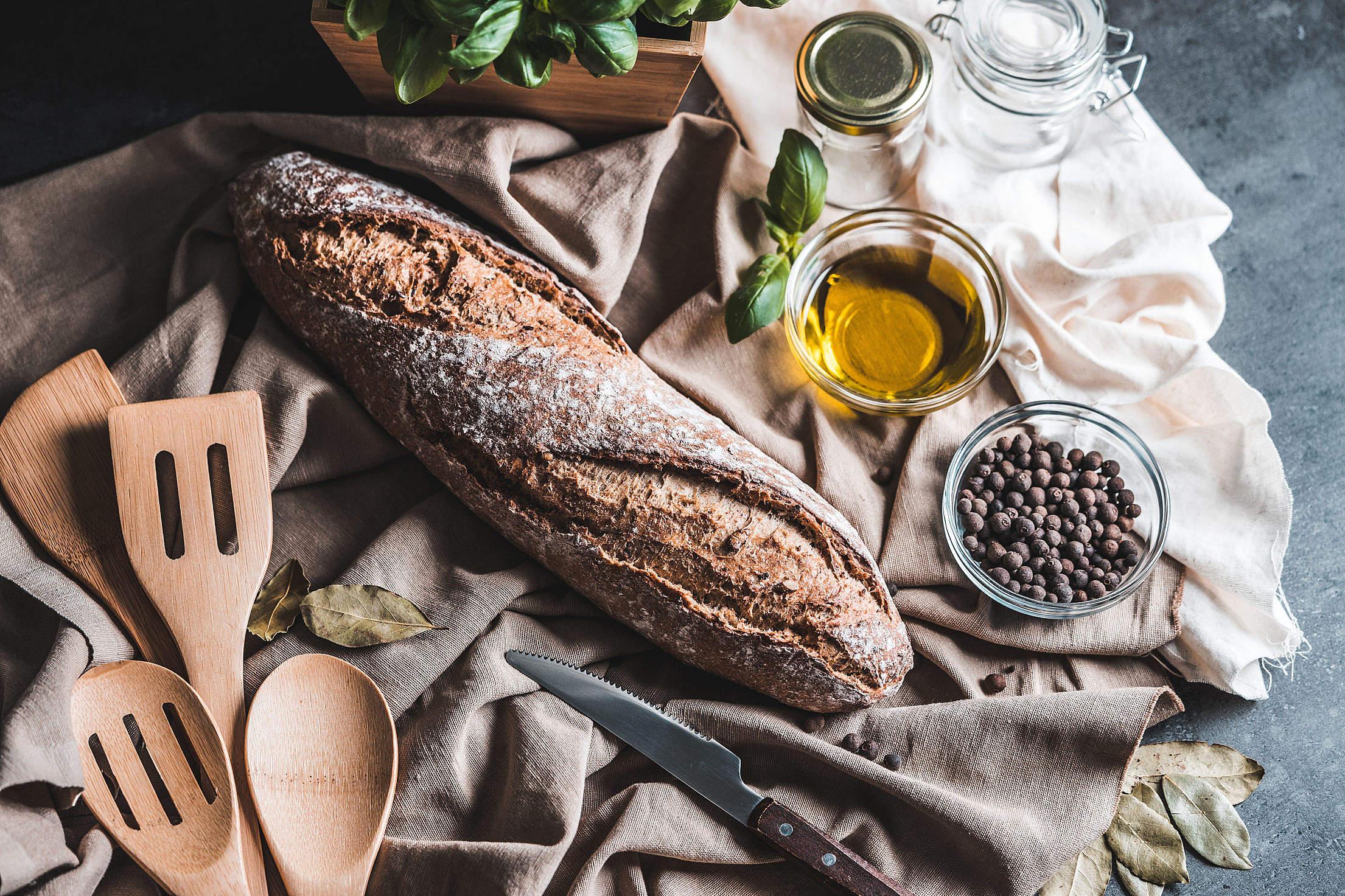 Crispy Homemade Whole Grain Baguette Free Stock Photo