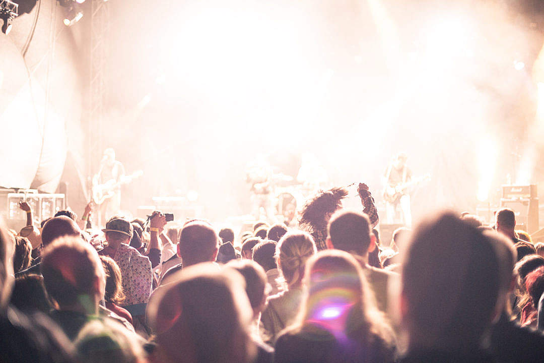 Download Crowds of Party People Enjoying a Live Concert FREE Stock Photo