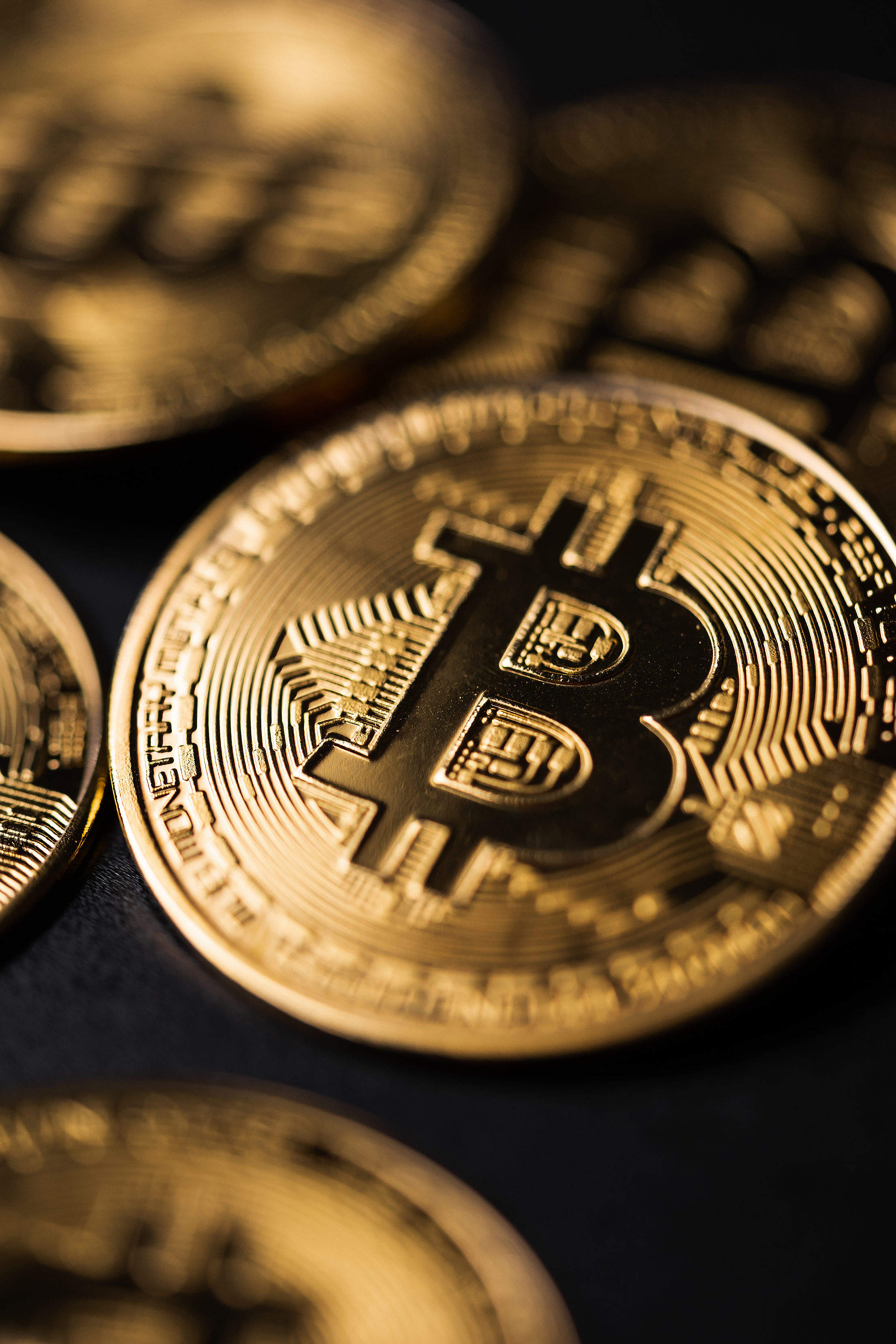 Crypto Currency Golden Coin with Black Bitcoin Symbol Free Stock Photo