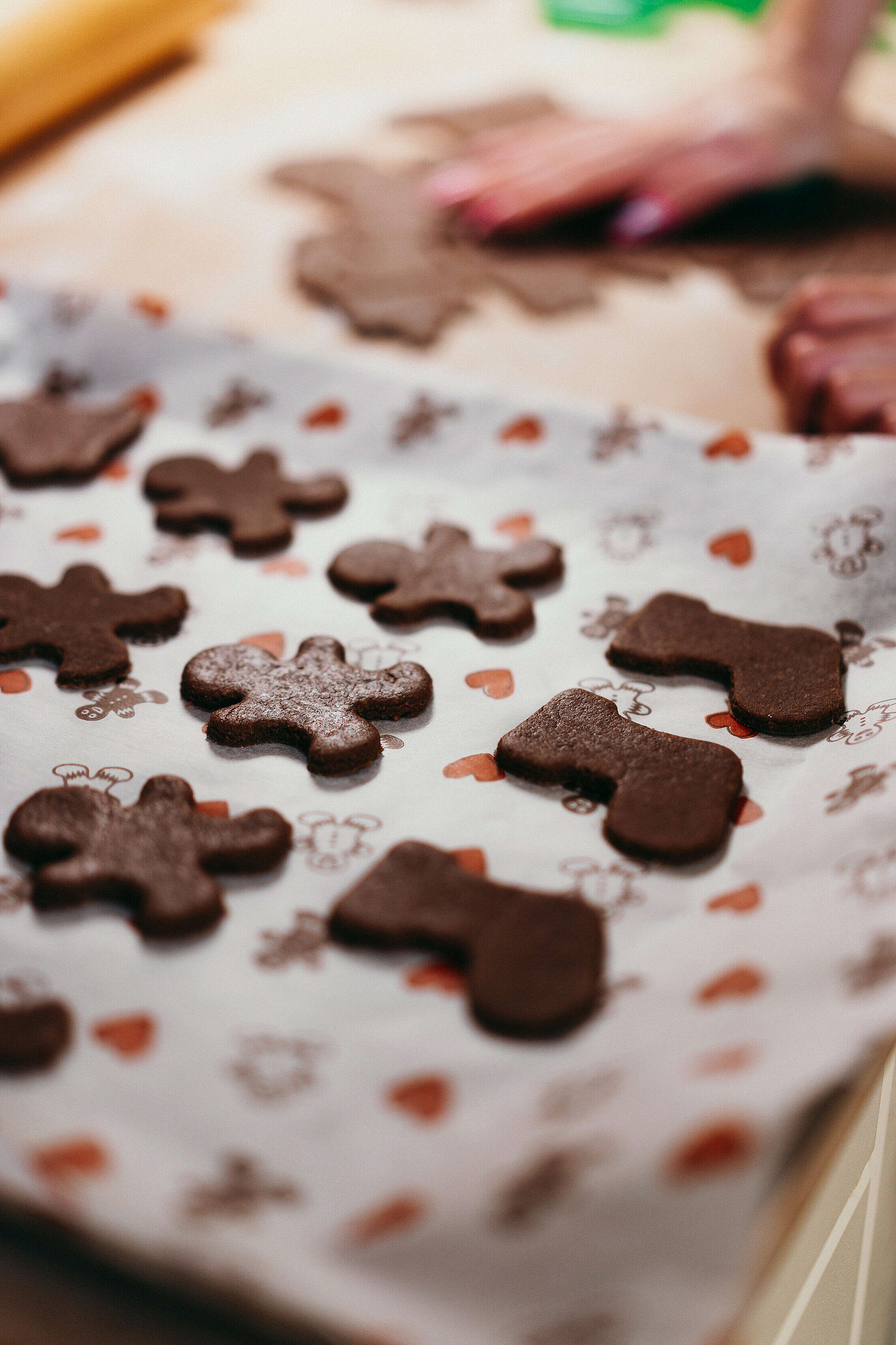 Cutting Christmas Gingerbread Free Stock Photo
