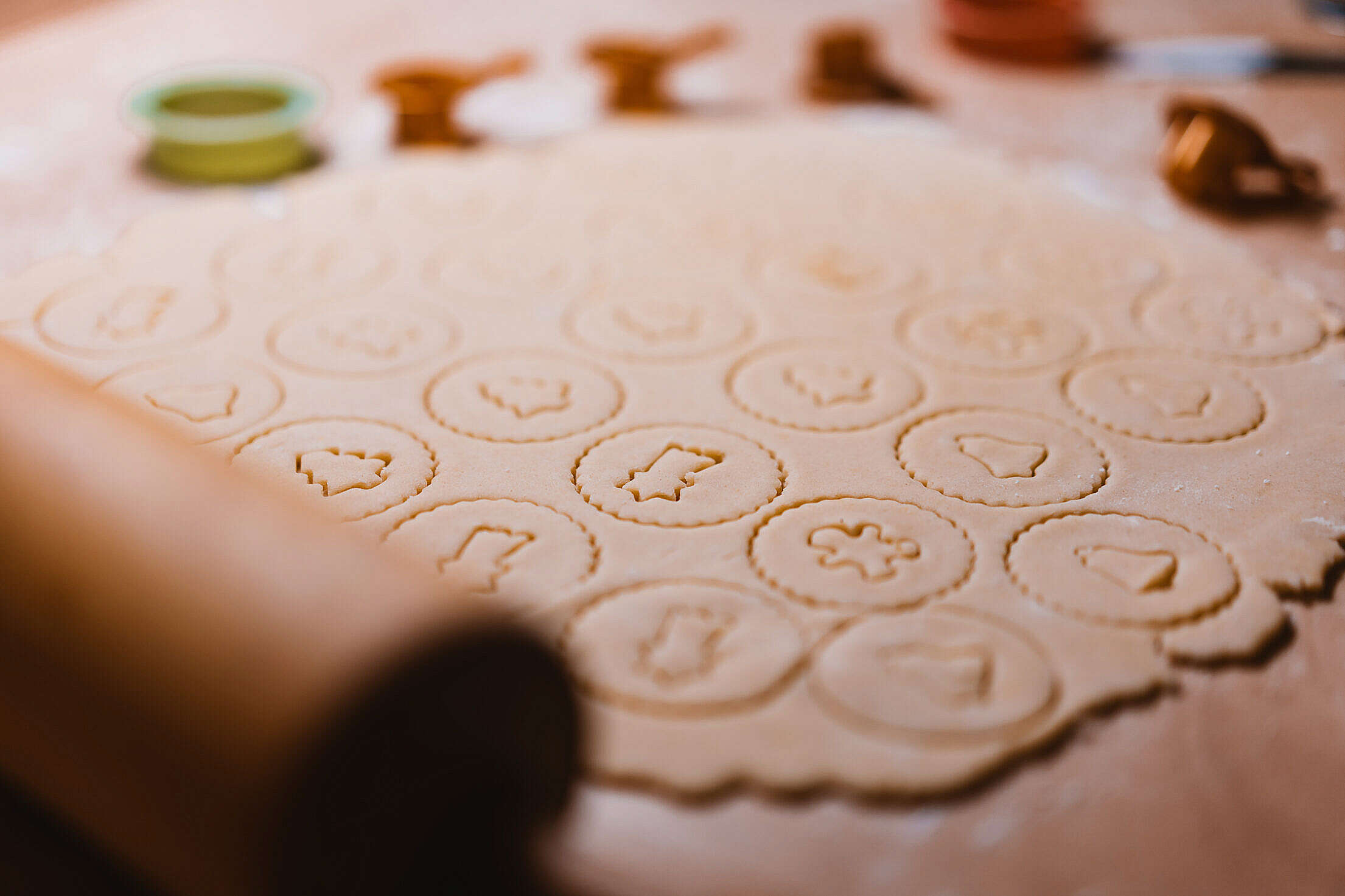 Cutting Linzer Sweets Free Stock Photo