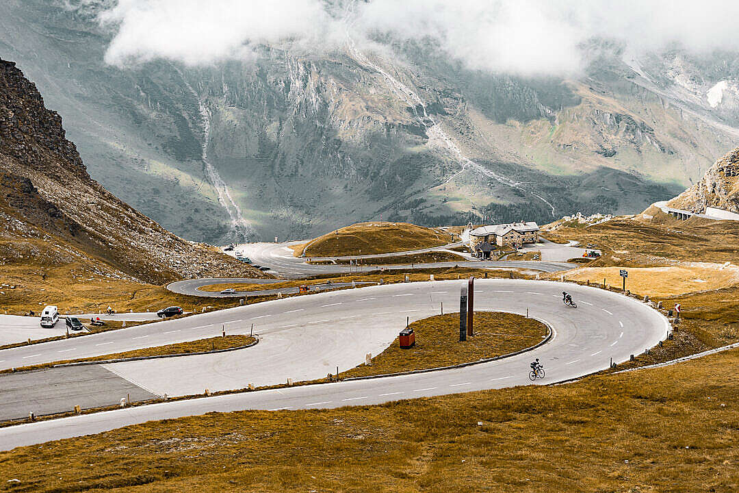 Download Cyclists on Grossglockner Mountain Road, Austria FREE Stock Photo