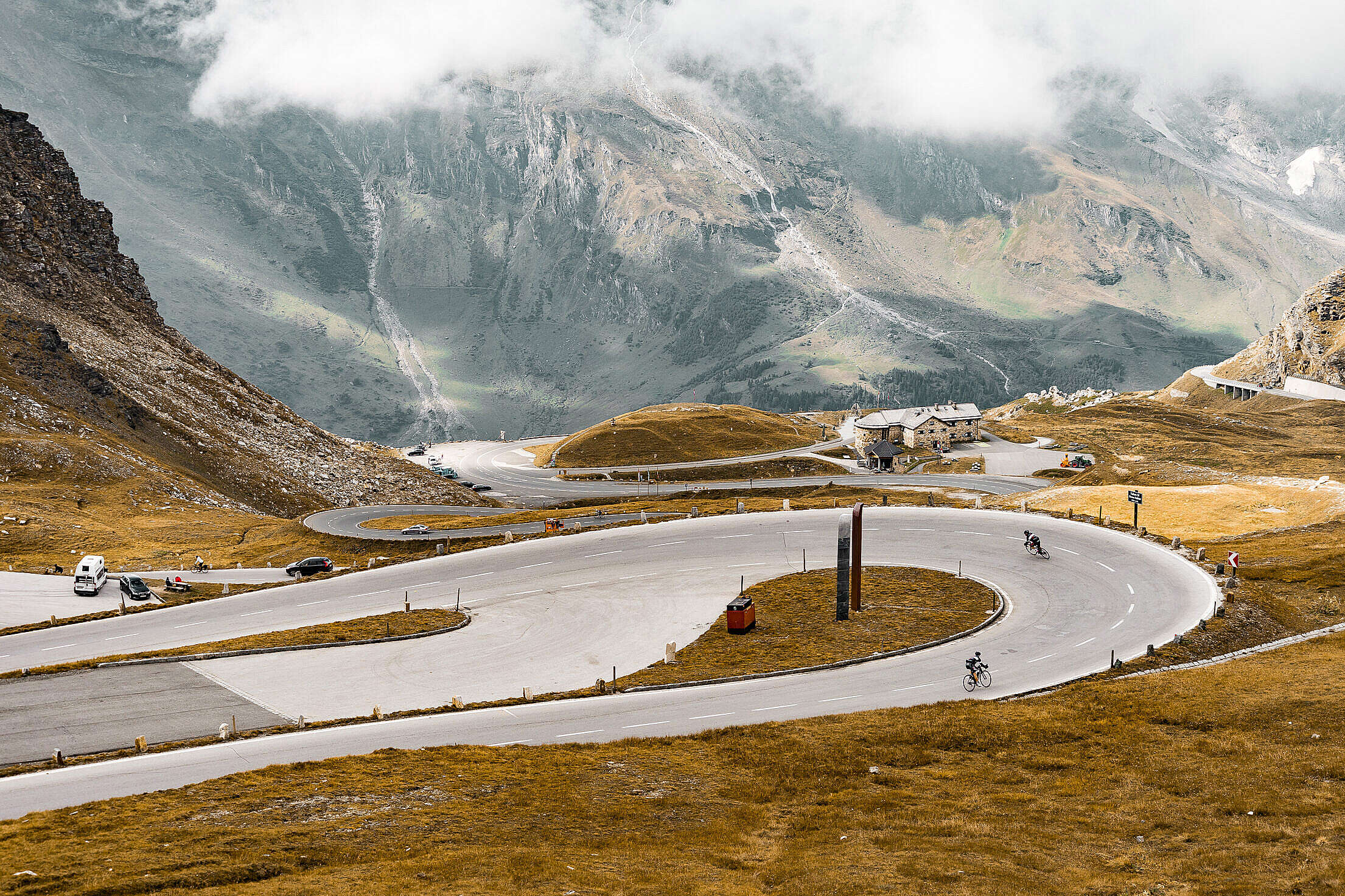 Cyclists on Grossglockner Mountain Road, Austria Free Stock Photo