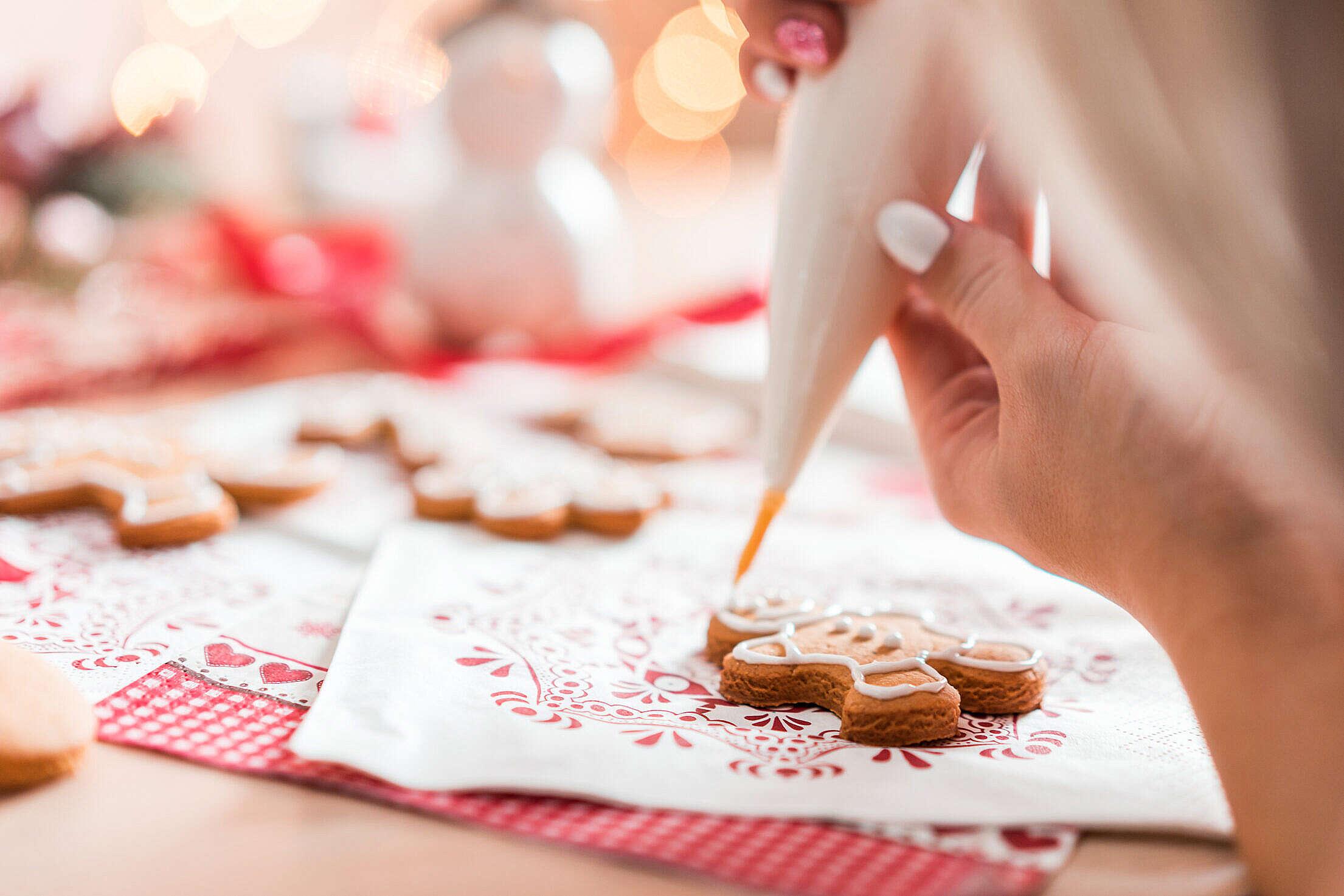 Decorating Gingerbread Man Free Stock Photo