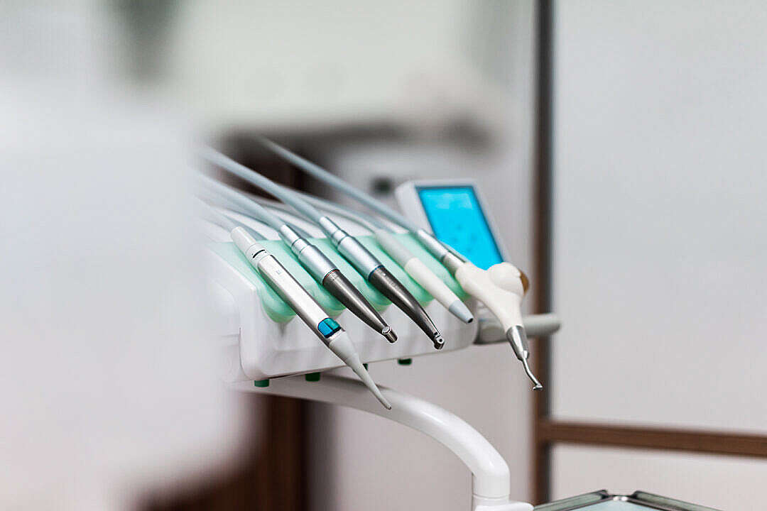 Download Dental Tool Station with Drills and Instruments in Dentist Office FREE Stock Photo