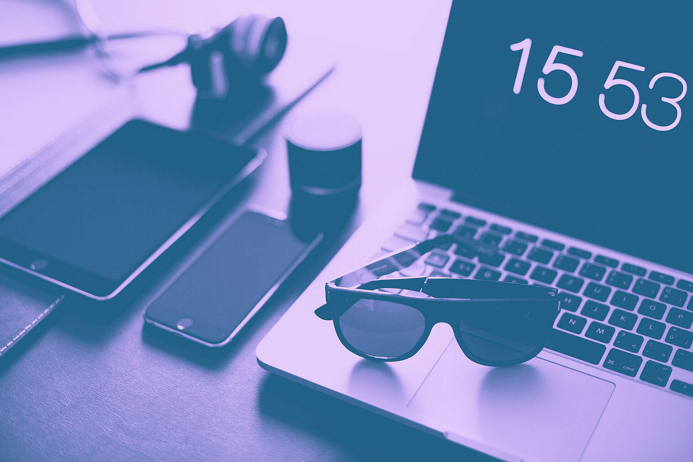 Designer Office Workspace Duotone Abstract Free Stock Photo