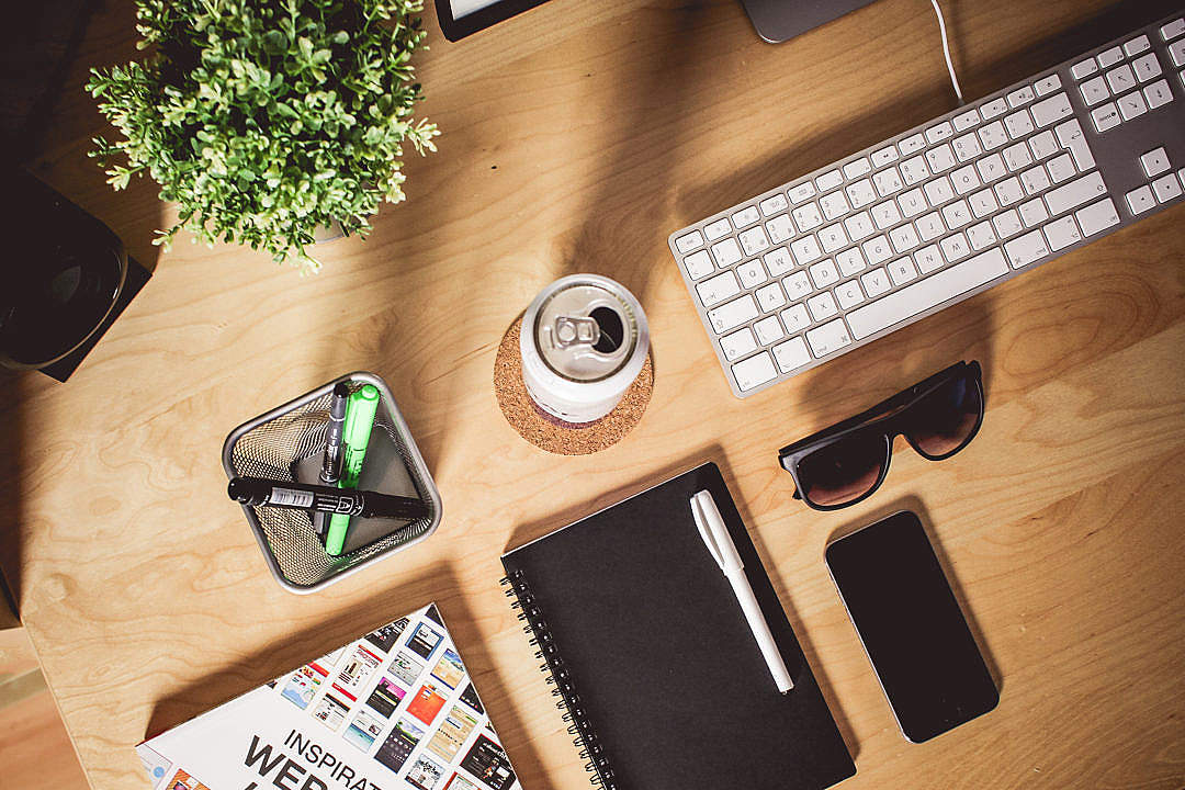 Download Designer Wooden Workspace FREE Stock Photo