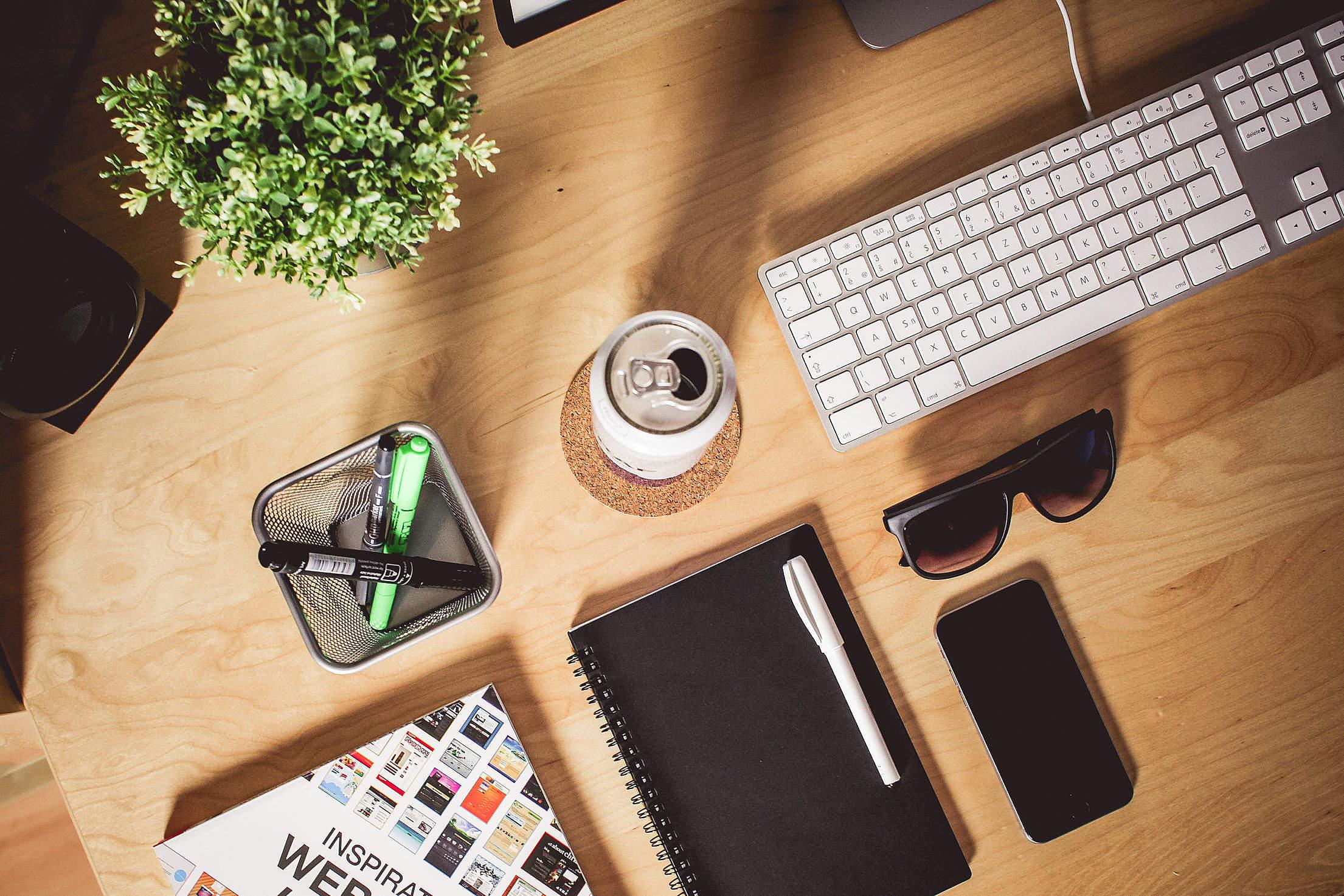 Designer Wooden Workspace Free Stock Photo