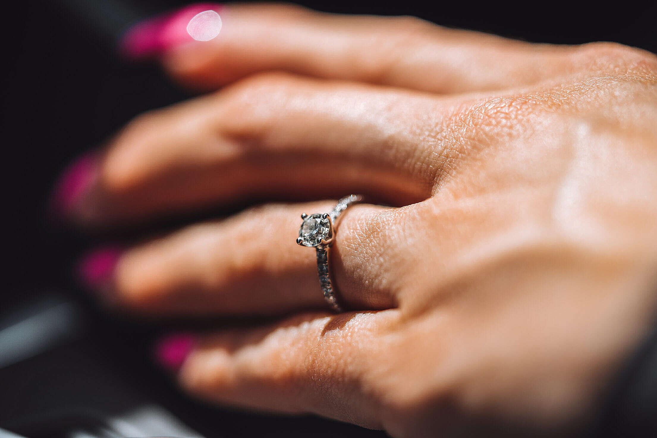 Diamond Engagement Ring Free Stock Photo