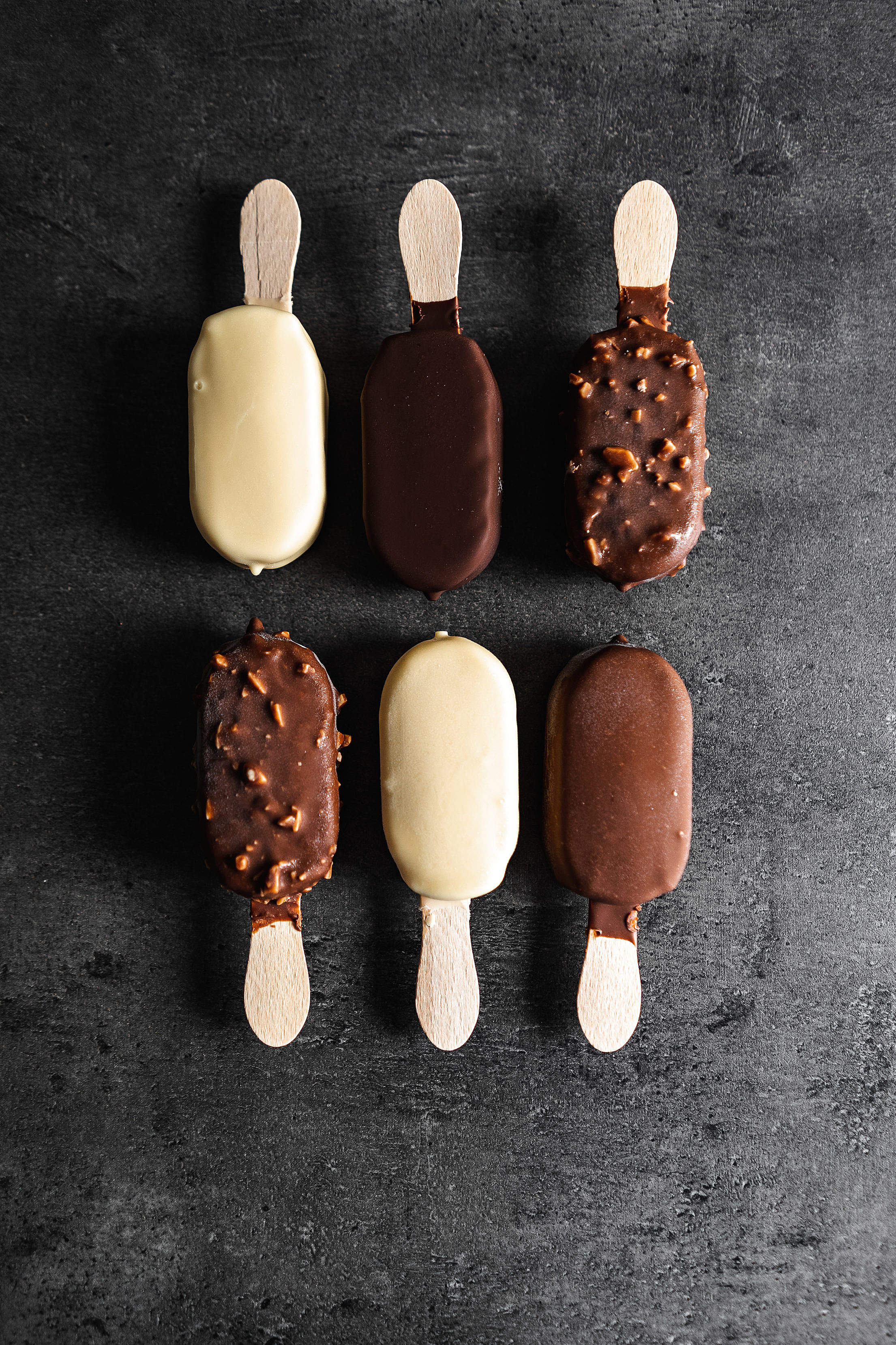 Different Kinds of Chocolate Ice Lollies Free Stock Photo