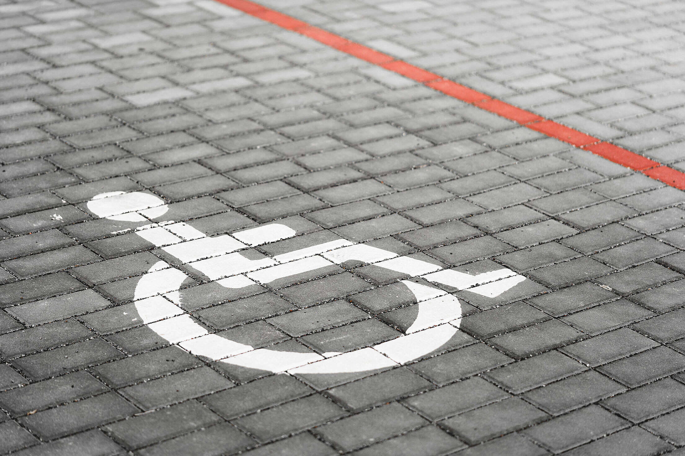 Disabled Parking Reserved for Wheelchairs Road Marking Free Stock Photo