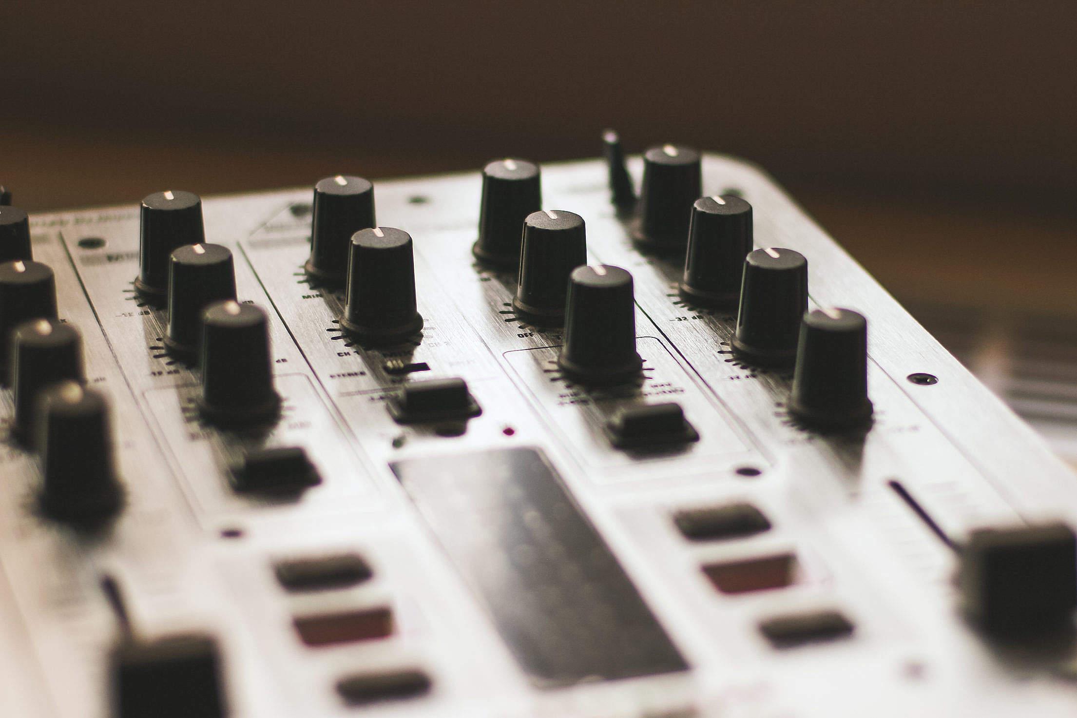 DJ Mix Knobs Close Up Free Stock Photo