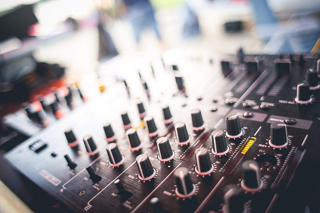 Download DJ Mixer Gains Close-Up FREE Stock Photo