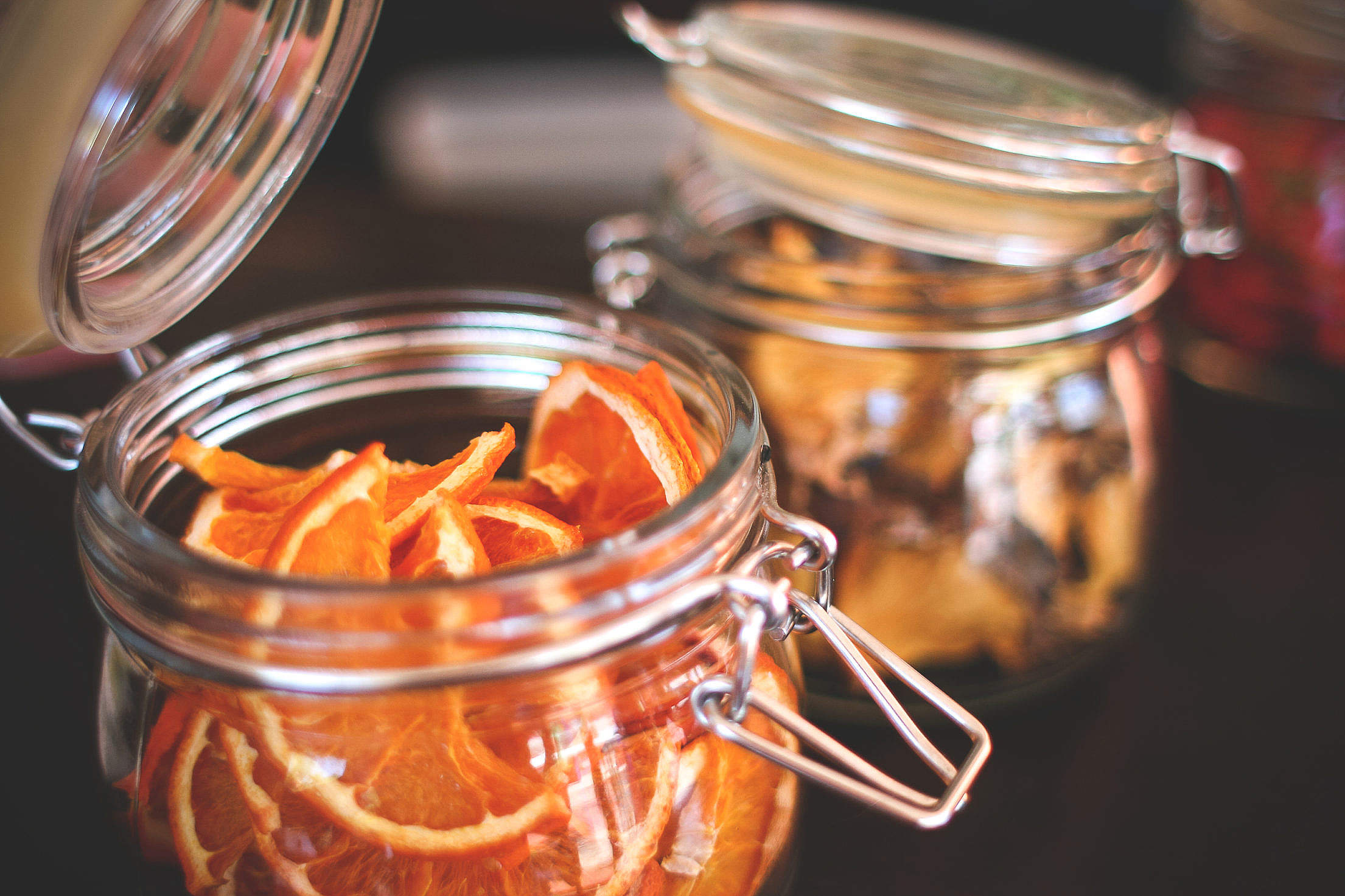 Dried Oranges in an Old Jar Free Stock Photo