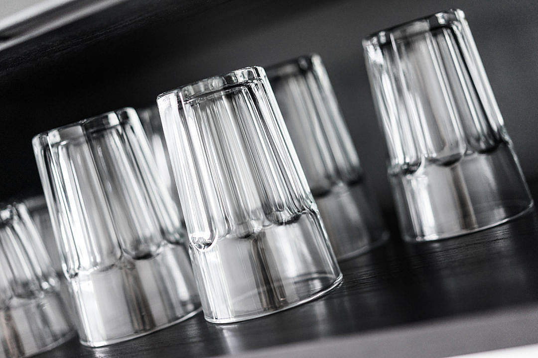 Download Drinking Glasses in Kitchen Shelf FREE Stock Photo