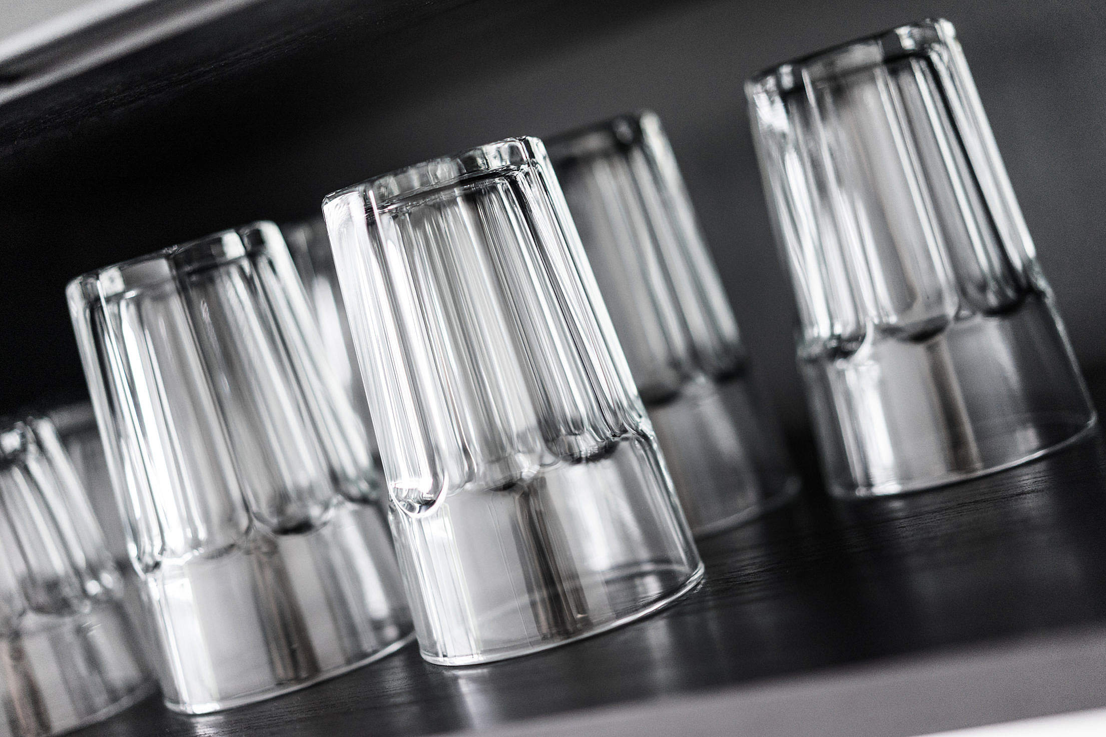 Drinking Glasses in Kitchen Shelf Free Stock Photo