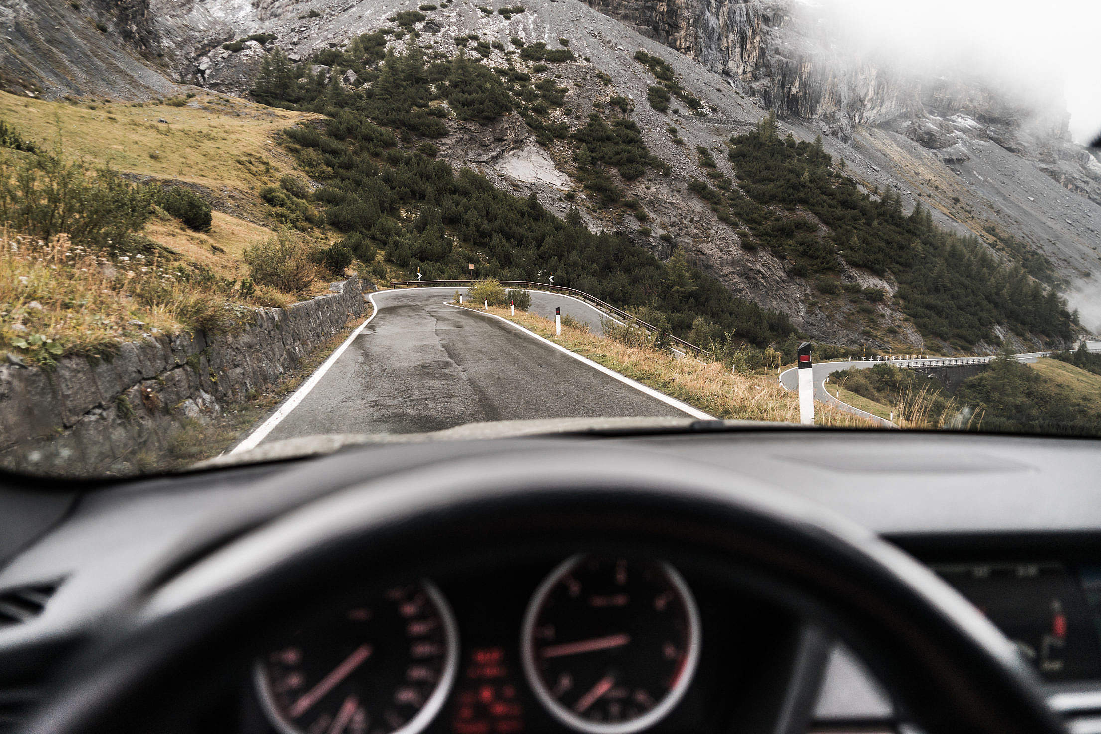 Drivers View: Driving on Stelvio Pass, Italy Free Stock Photo