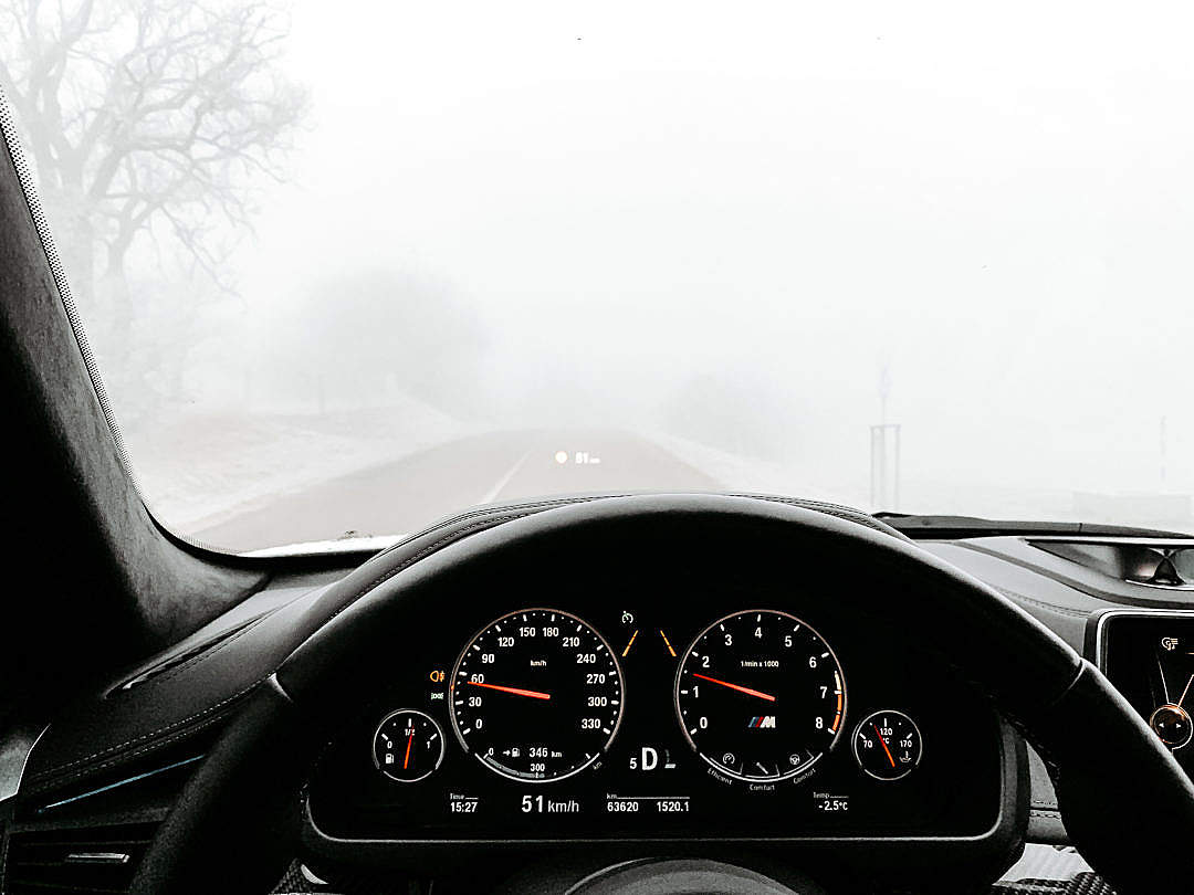 Download Driving in Heavy Fog FREE Stock Photo