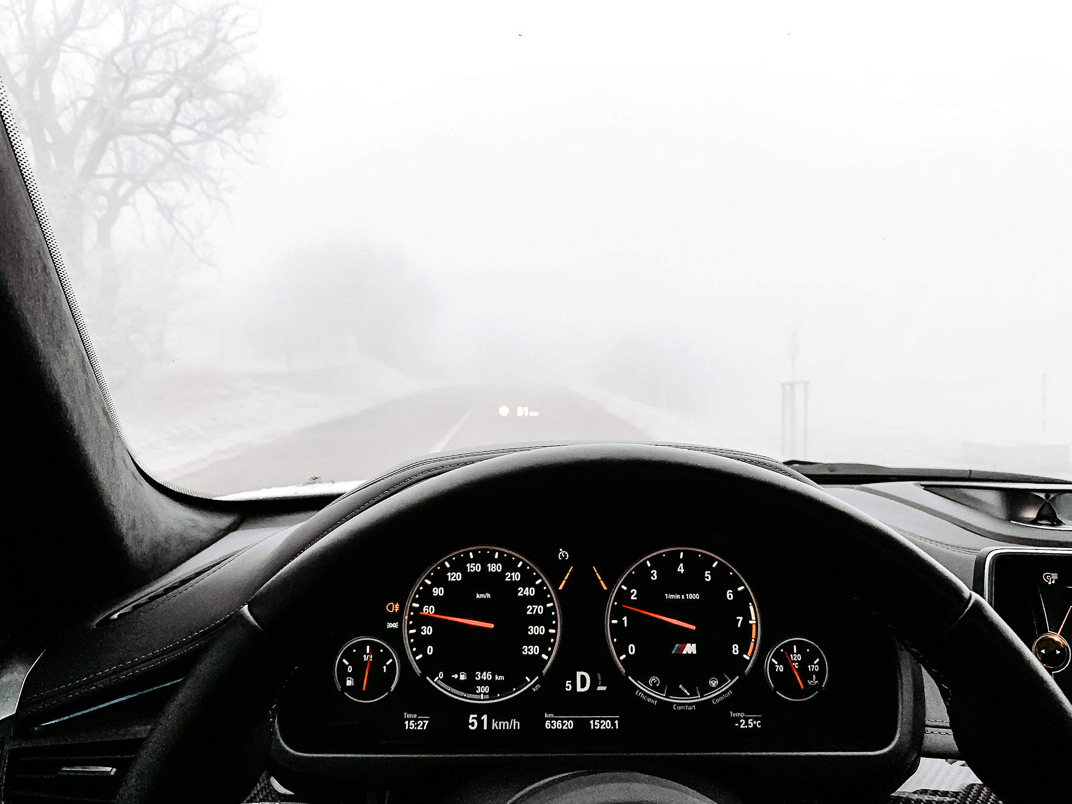 Driving in Heavy Fog Free Stock Photo