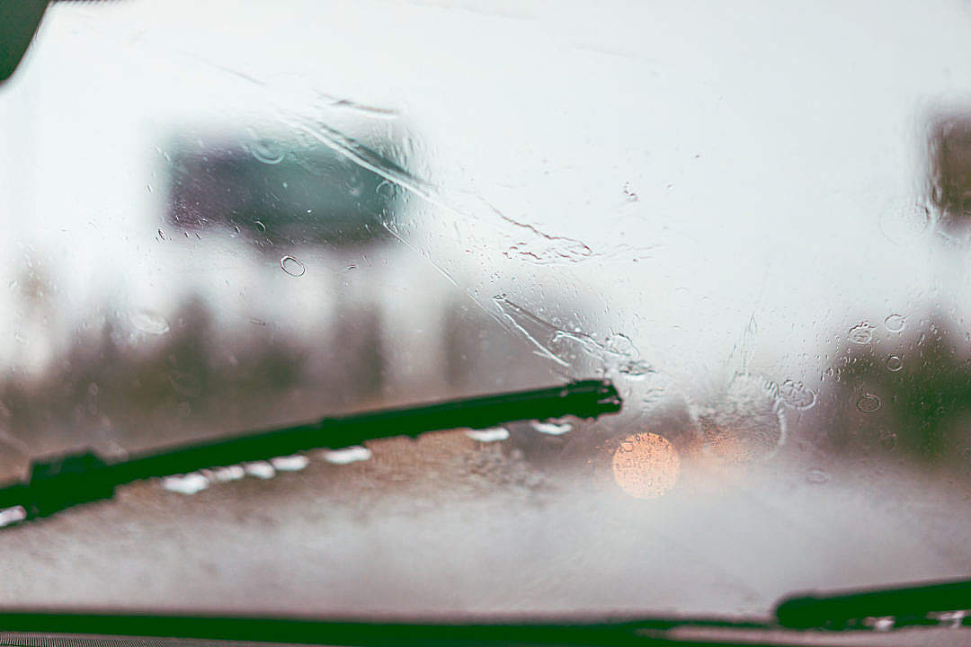 Download Driving in The Rain Windshield Wipers FREE Stock Photo