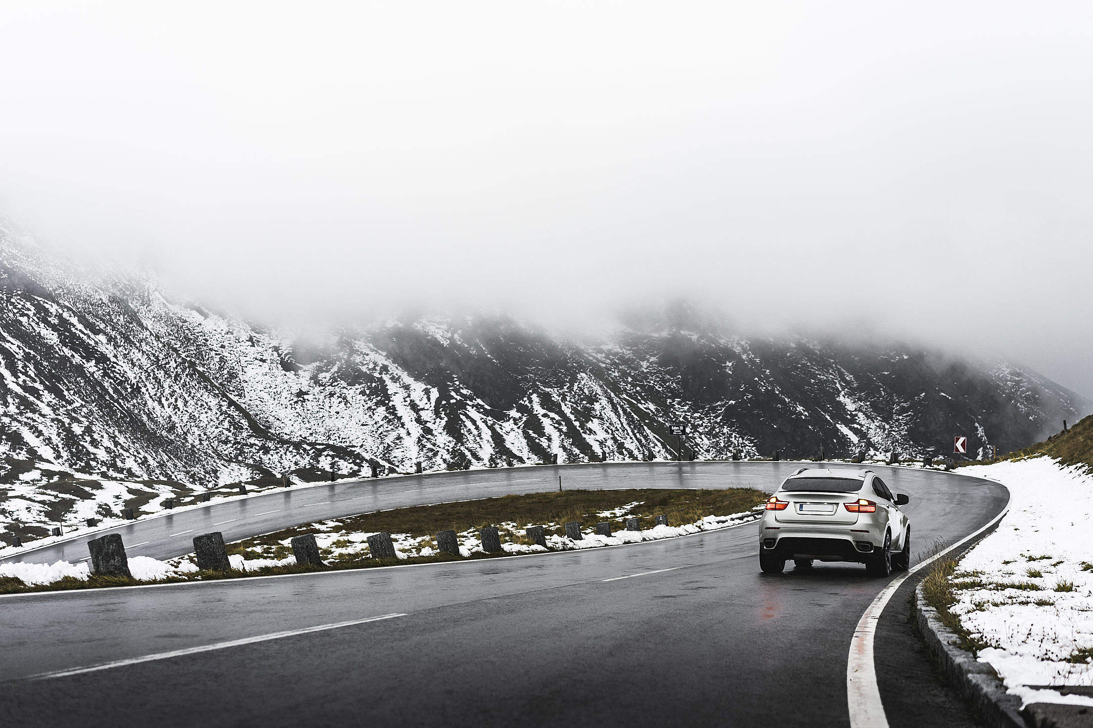 Driving on Grossglockner Mountain Road in Winter Weather Free Stock Photo