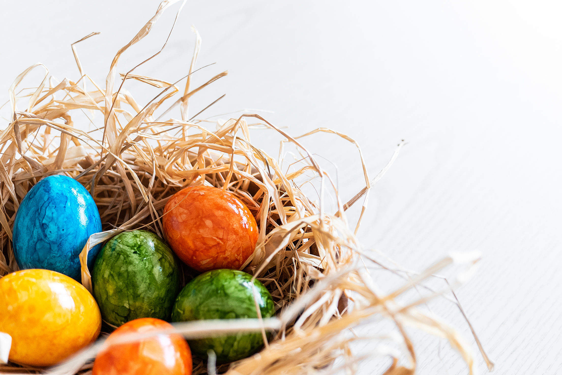 Dyed Eggs in a Basket Free Stock Photo