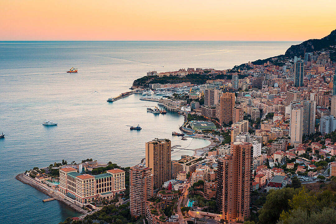 Download Early Evening Skyline of Monte Carlo in Monaco FREE Stock Photo
