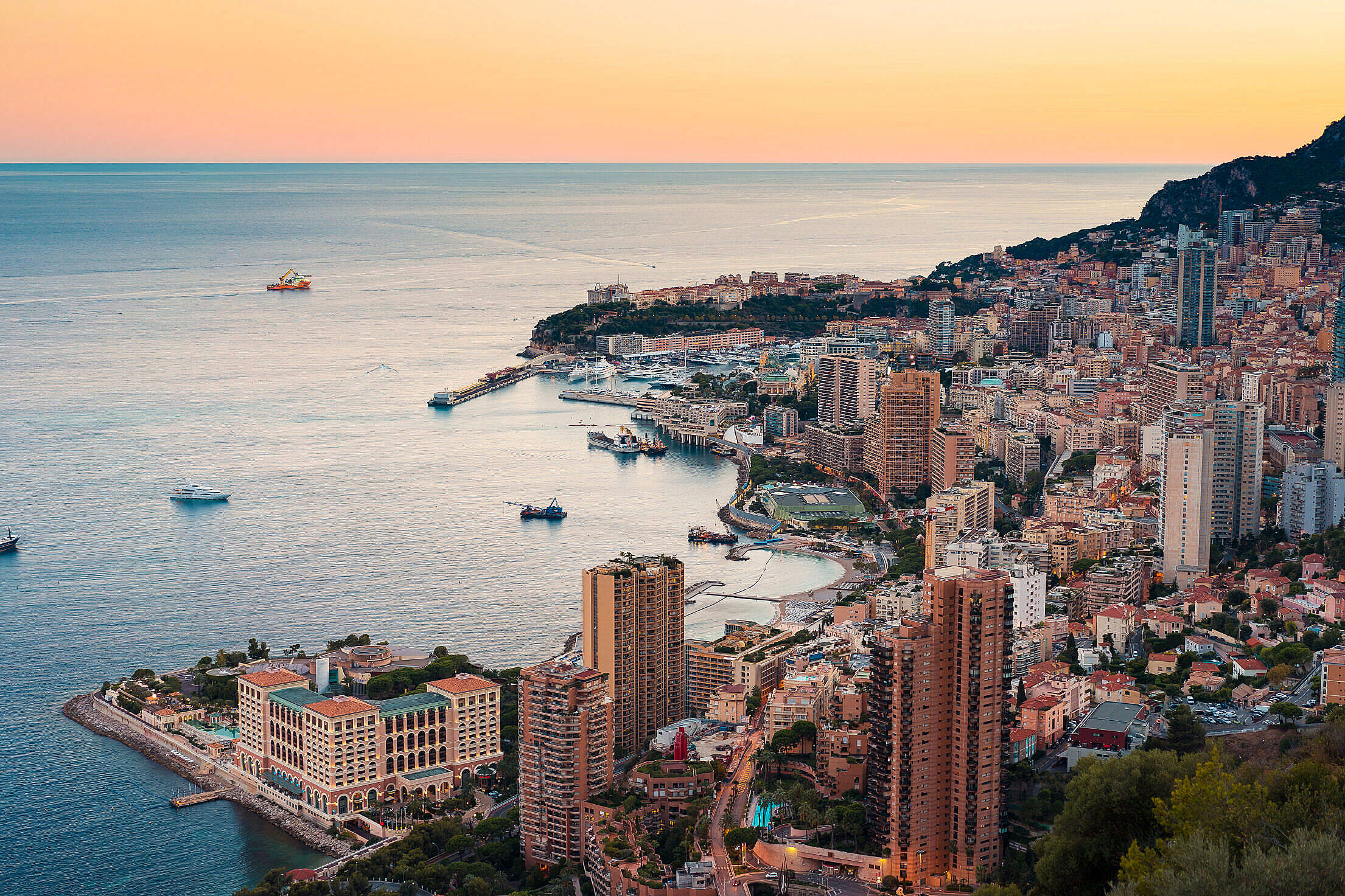 Early Evening Skyline of Monte Carlo in Monaco Free Stock Photo