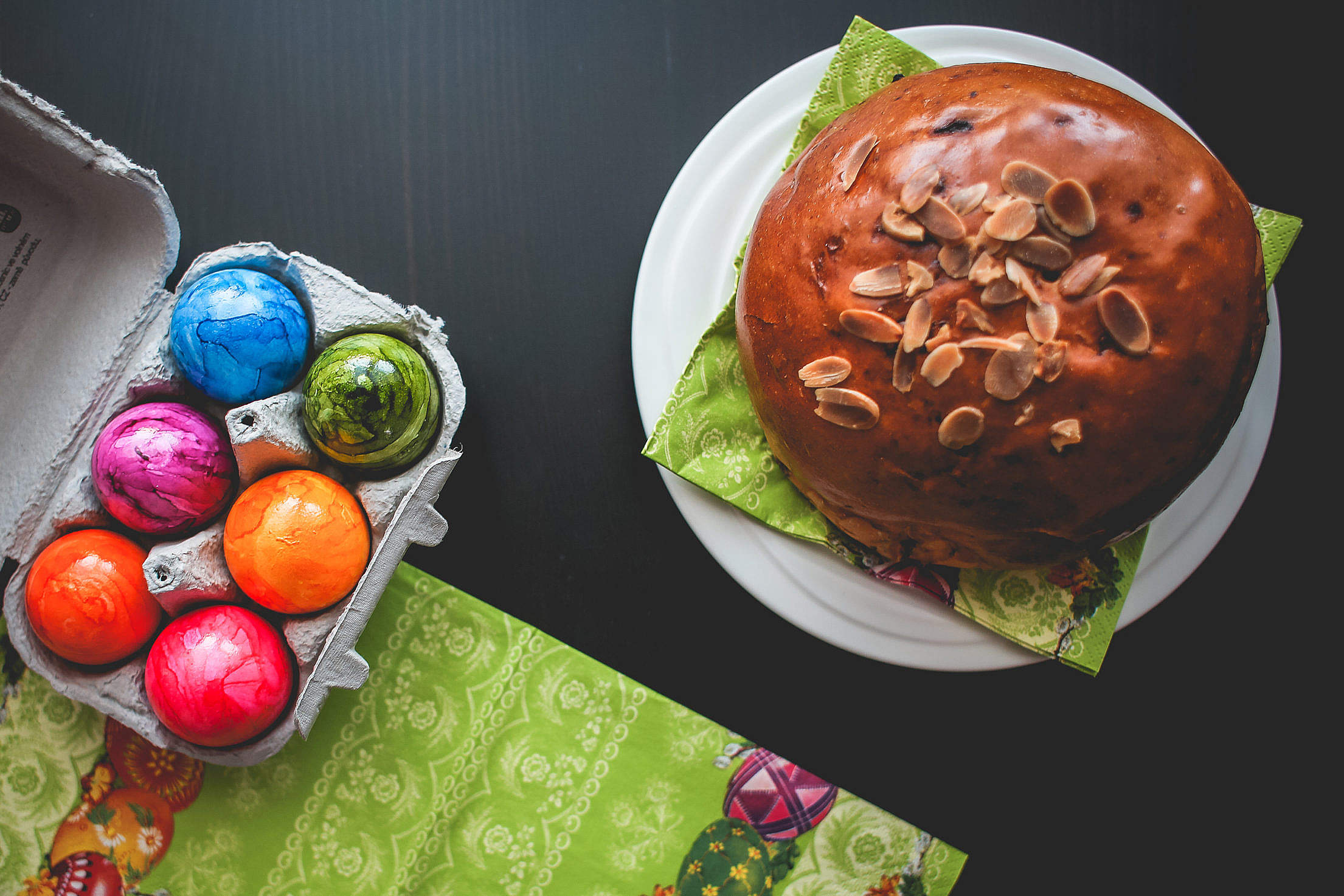 Easter Cake and Colorful Eggs: Happy Easter! Free Stock Photo