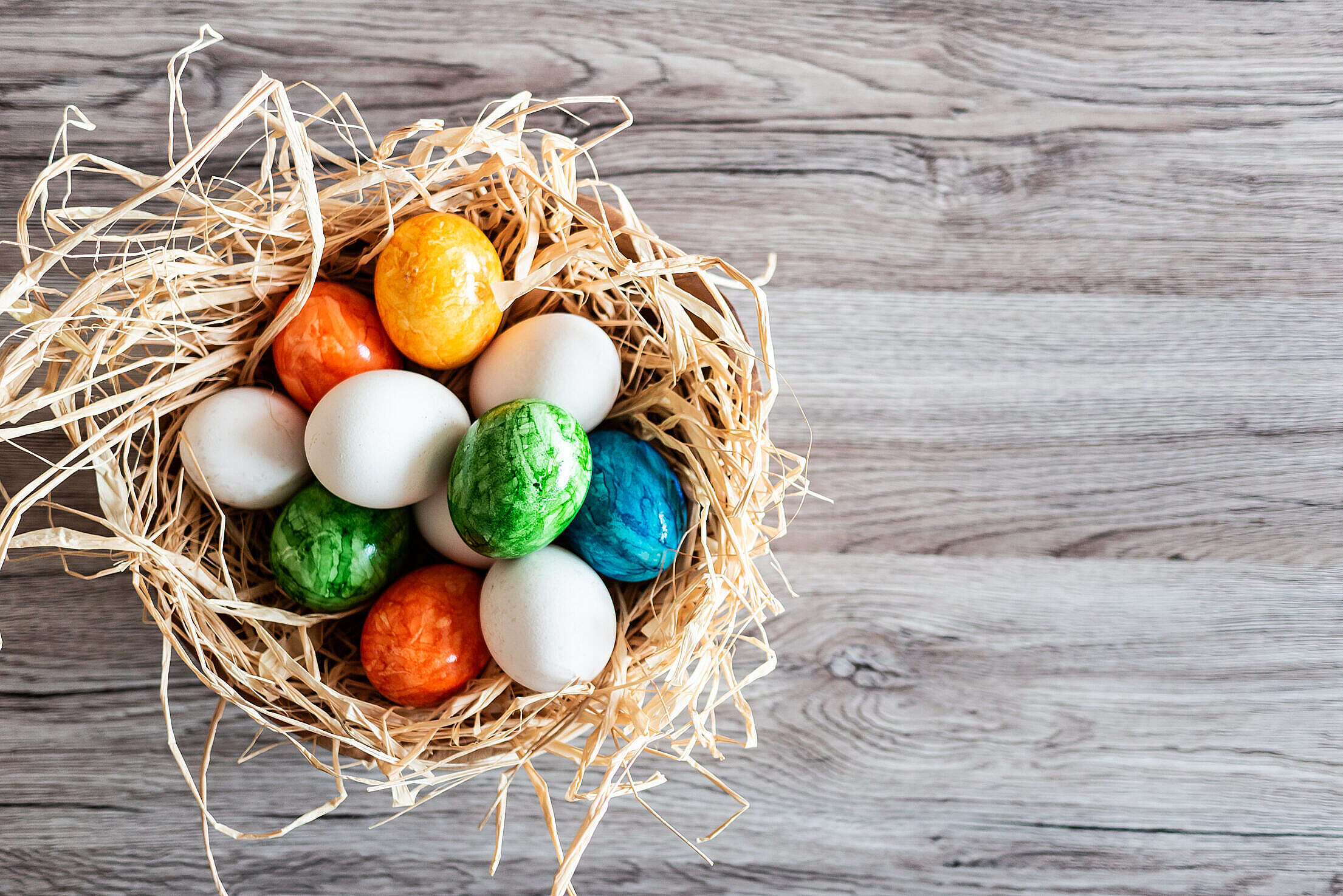 Easter Holidays Eggs and Wooden Background Free Stock Photo