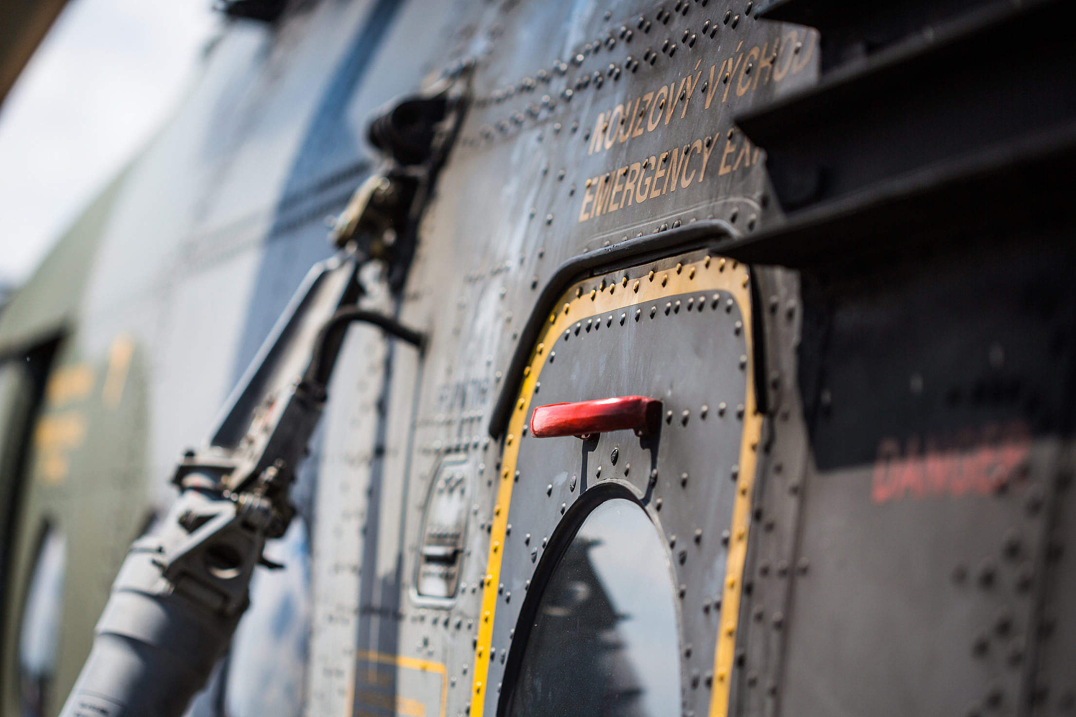 Emergency Exit Door on Army Helicopter Free Stock Photo