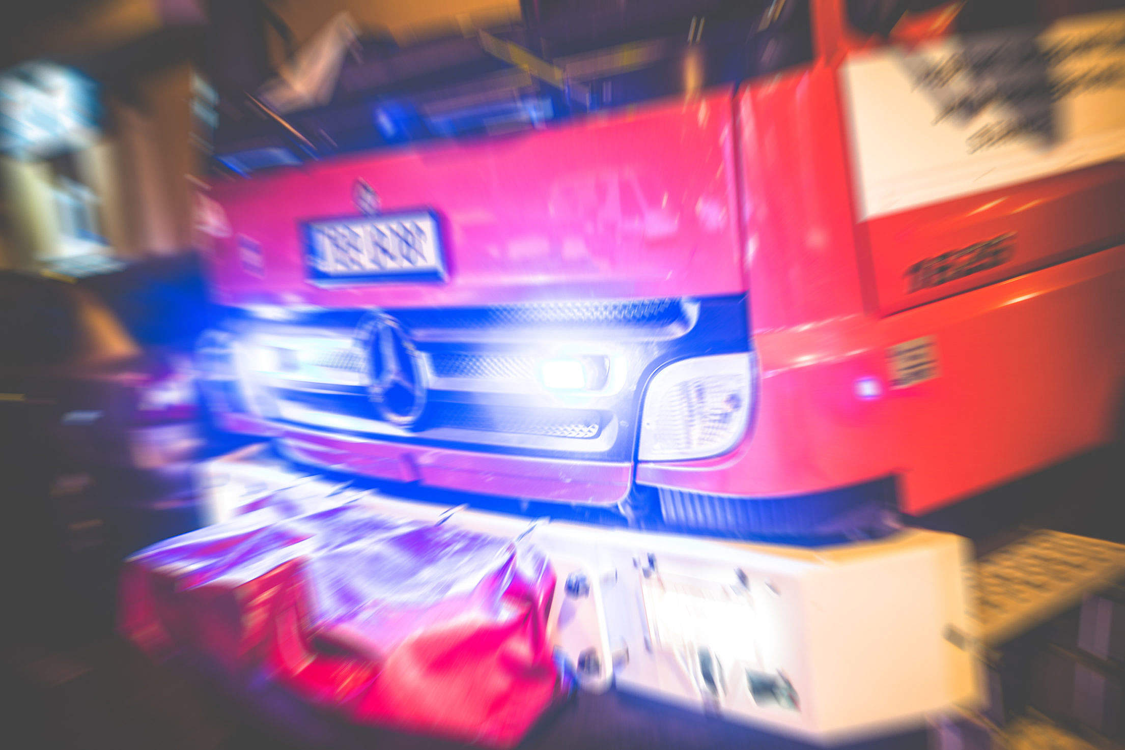 Emergency/Fire Truck with Beacon Lights Free Stock Photo
