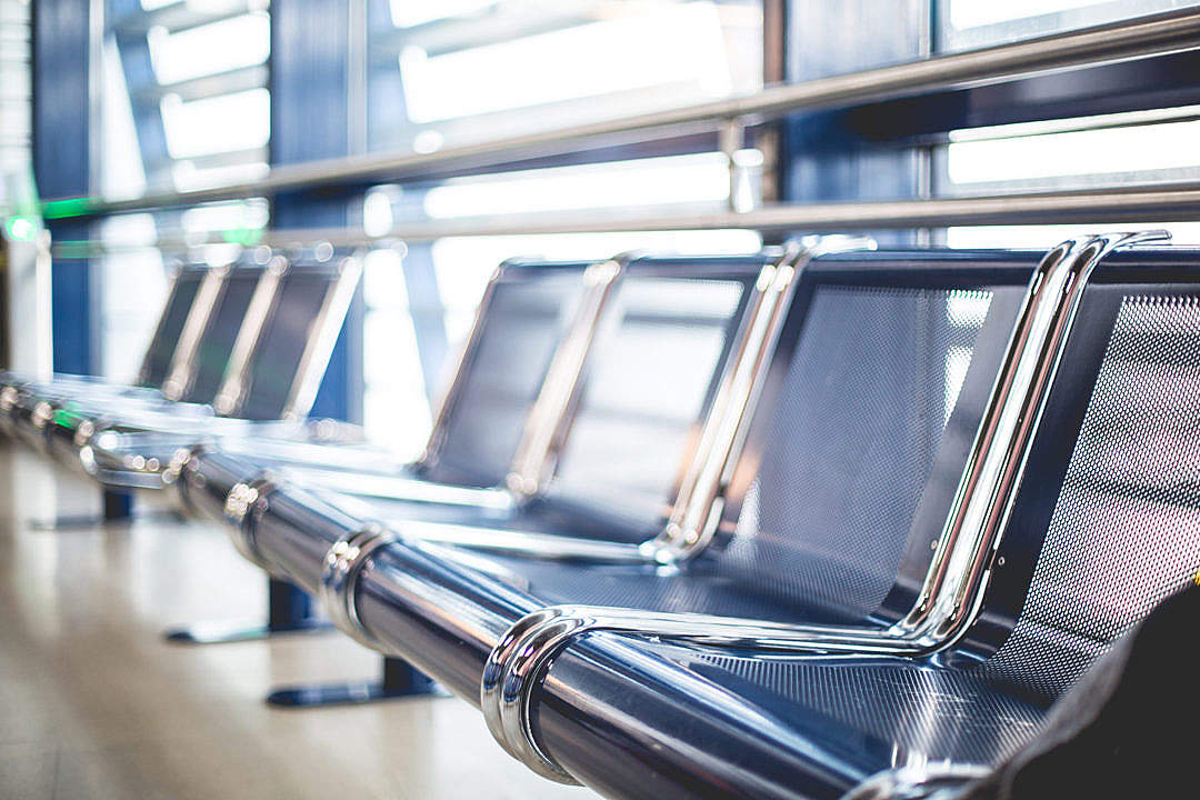 Download Empty Airport Seats in Terminal Waiting Area FREE Stock Photo