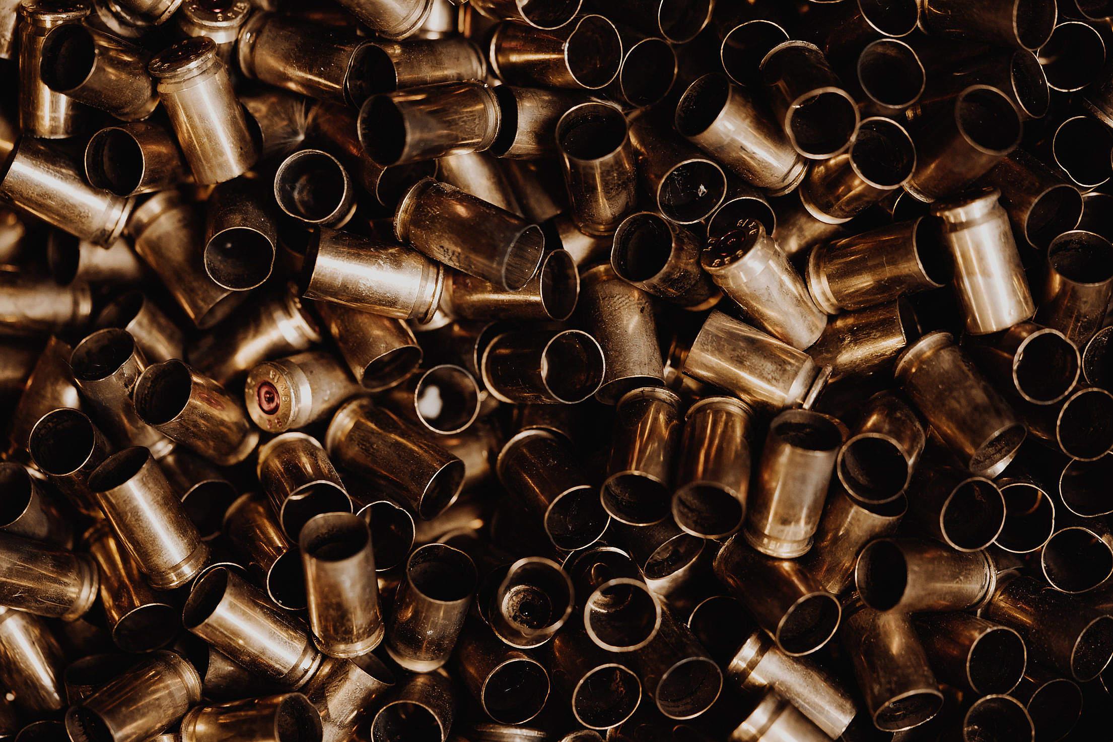 Empty Ammunition on a Pile Free Stock Photo
