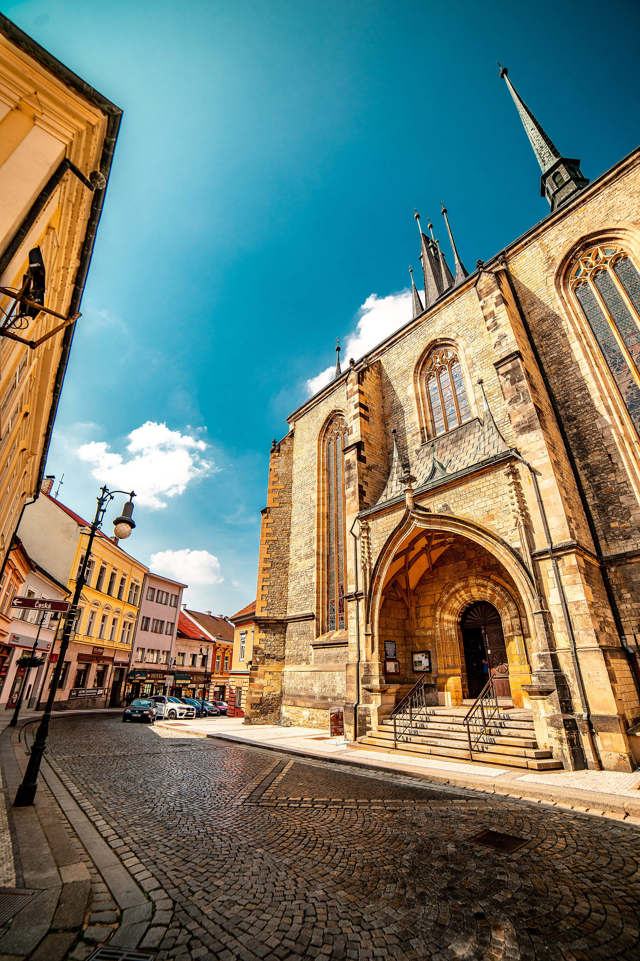 Entry to Church of St. Nicholas in Louny, Czechia Free Stock Photo