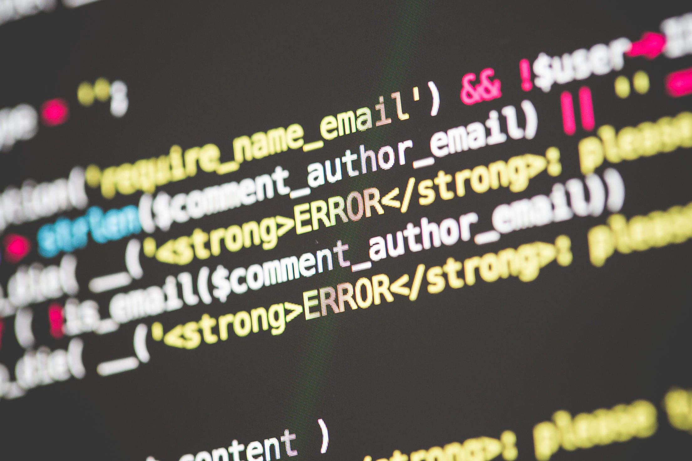 ERROR in PHP WordPress Code Free Stock Photo