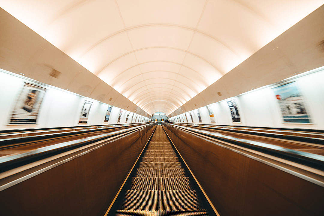 Download Escalator in Prague Metro FREE Stock Photo