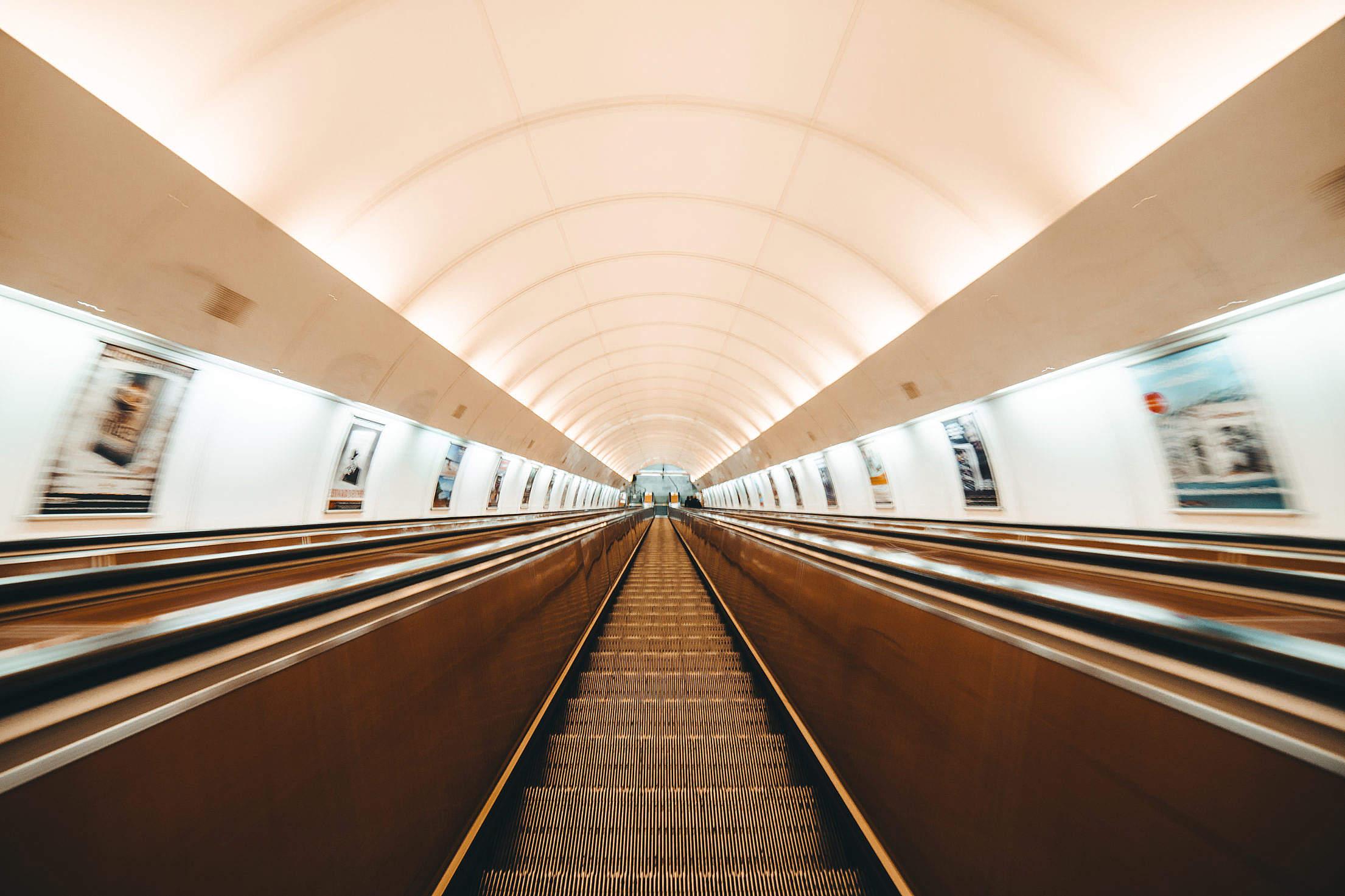 Escalator in Prague Metro Free Stock Photo