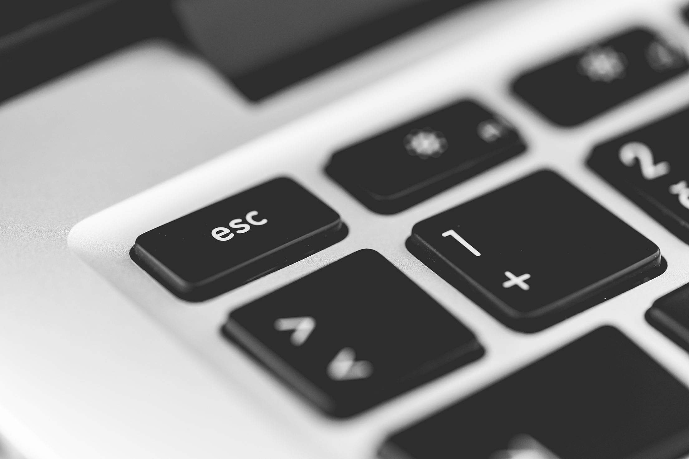 Escape Key Laptop Keyboard Close Up Free Stock Photo