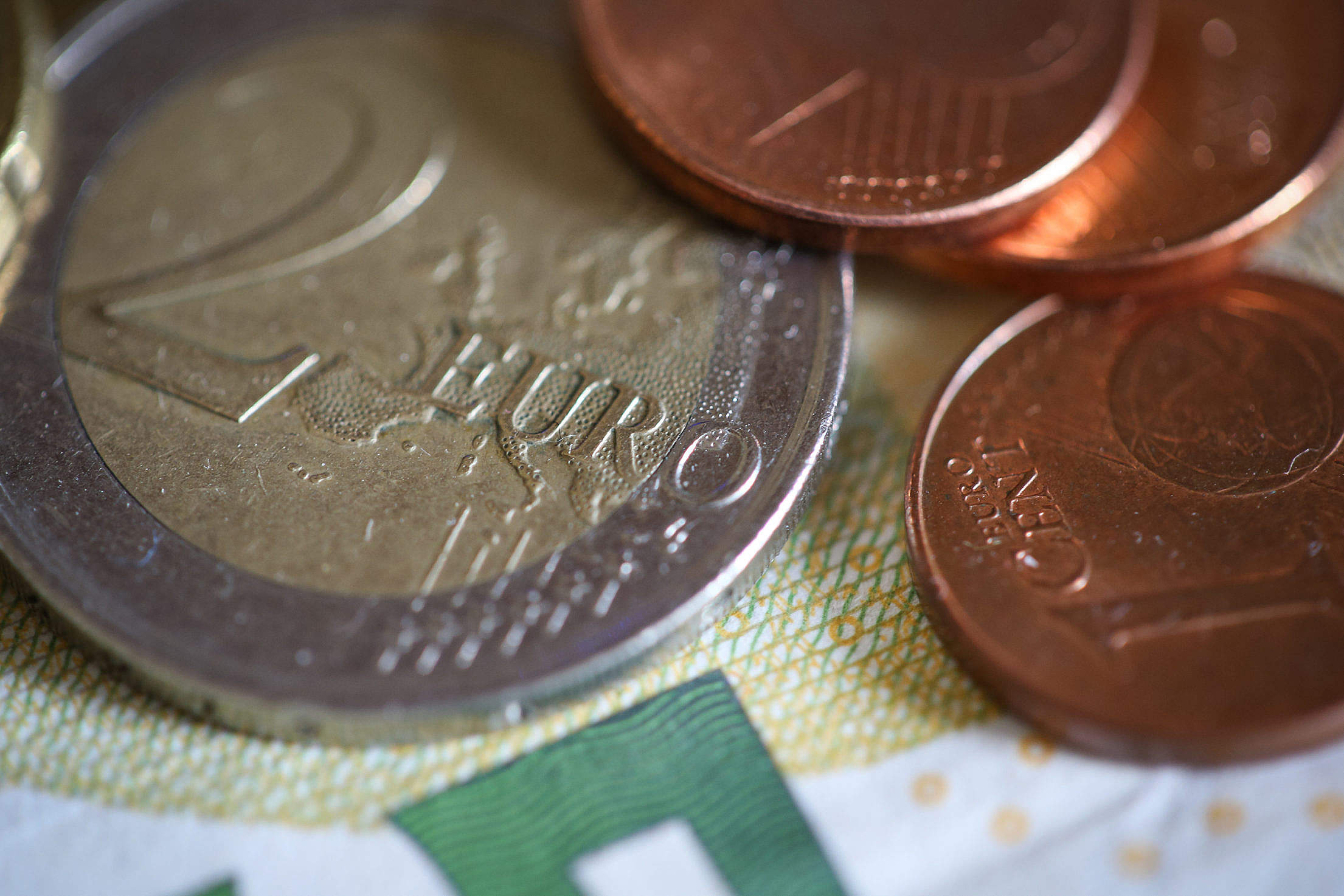 Euro € Coins Close Up Free Stock Photo
