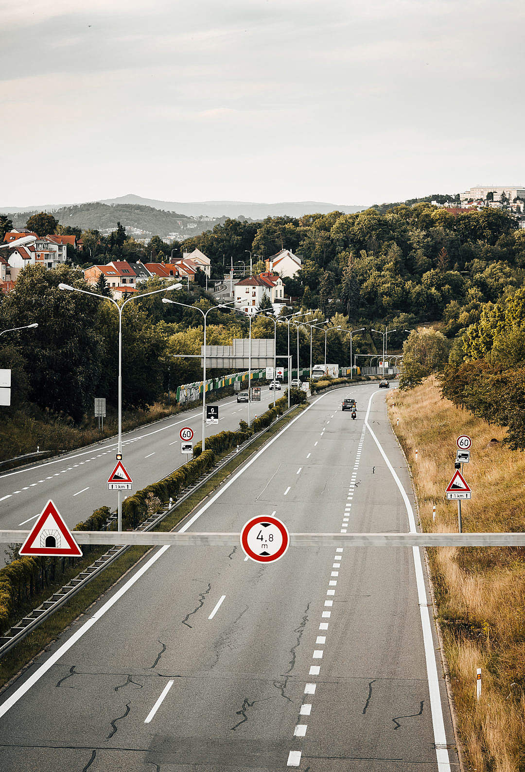 Download European In-City Four Lane Road FREE Stock Photo