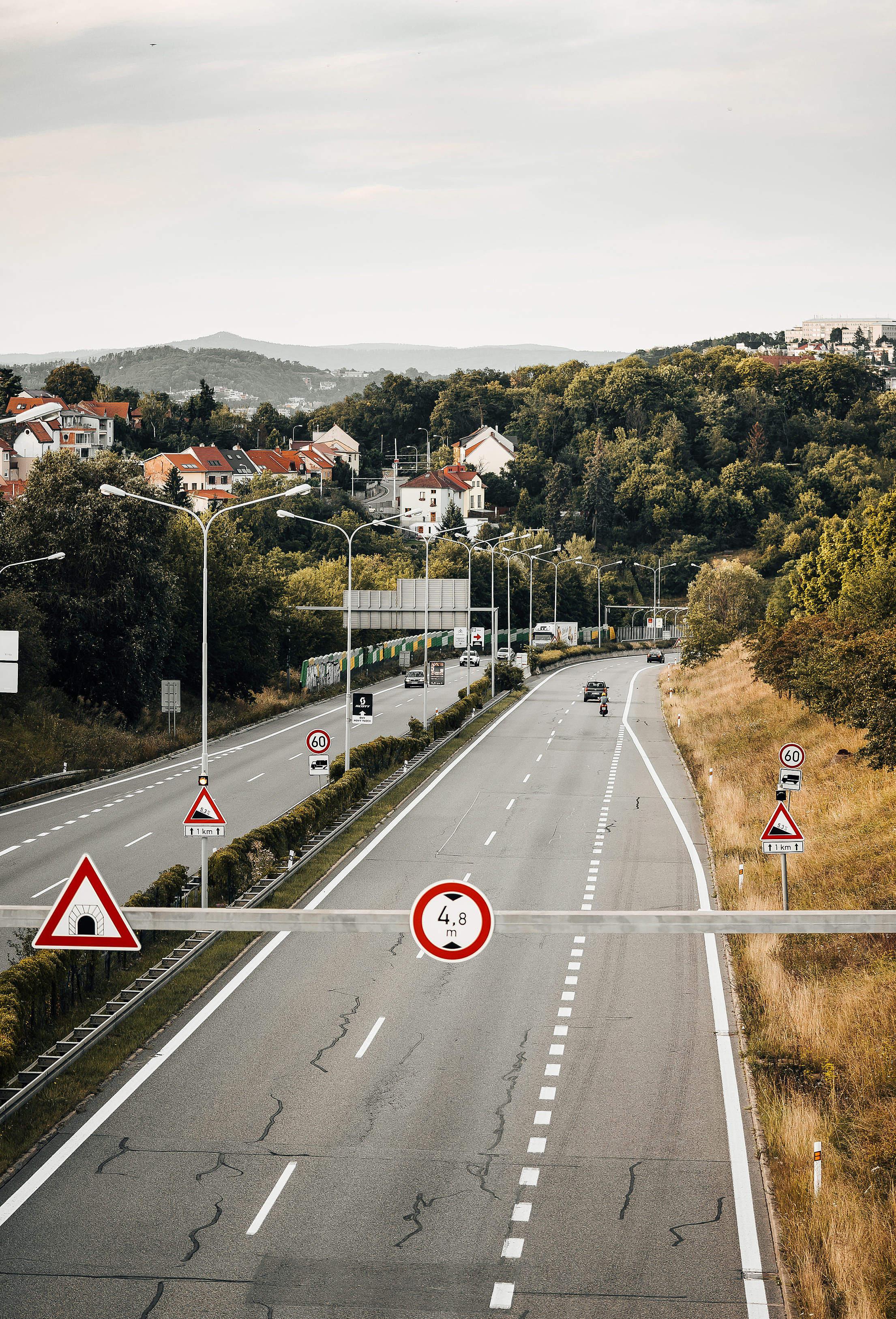 European In-City Four Lane Road Free Stock Photo
