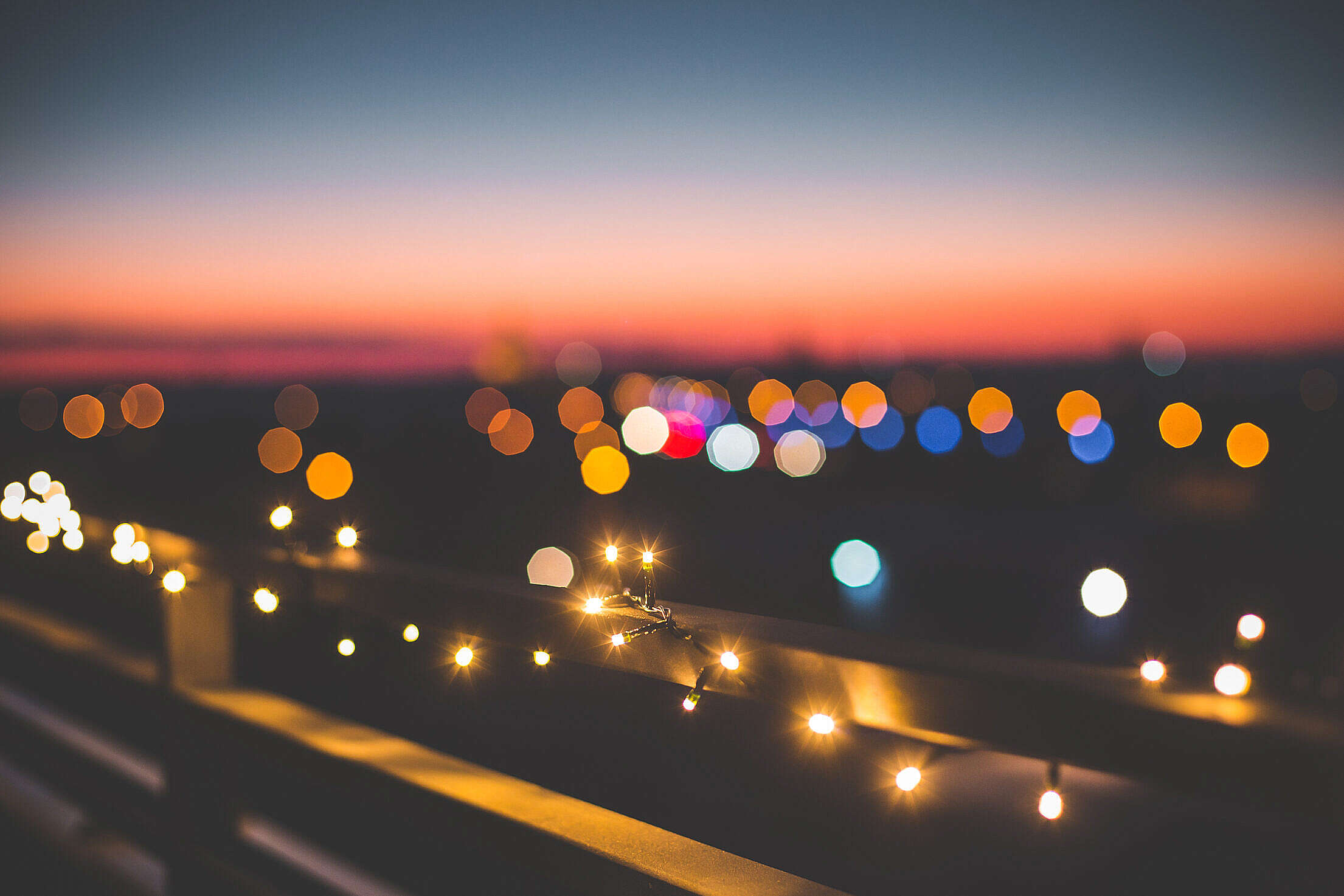 Evening Christmas Lights Over The City Free Stock Photo