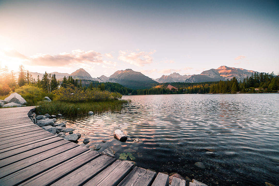 Download Evening Lake Side in High Tatras Mountains FREE Stock Photo