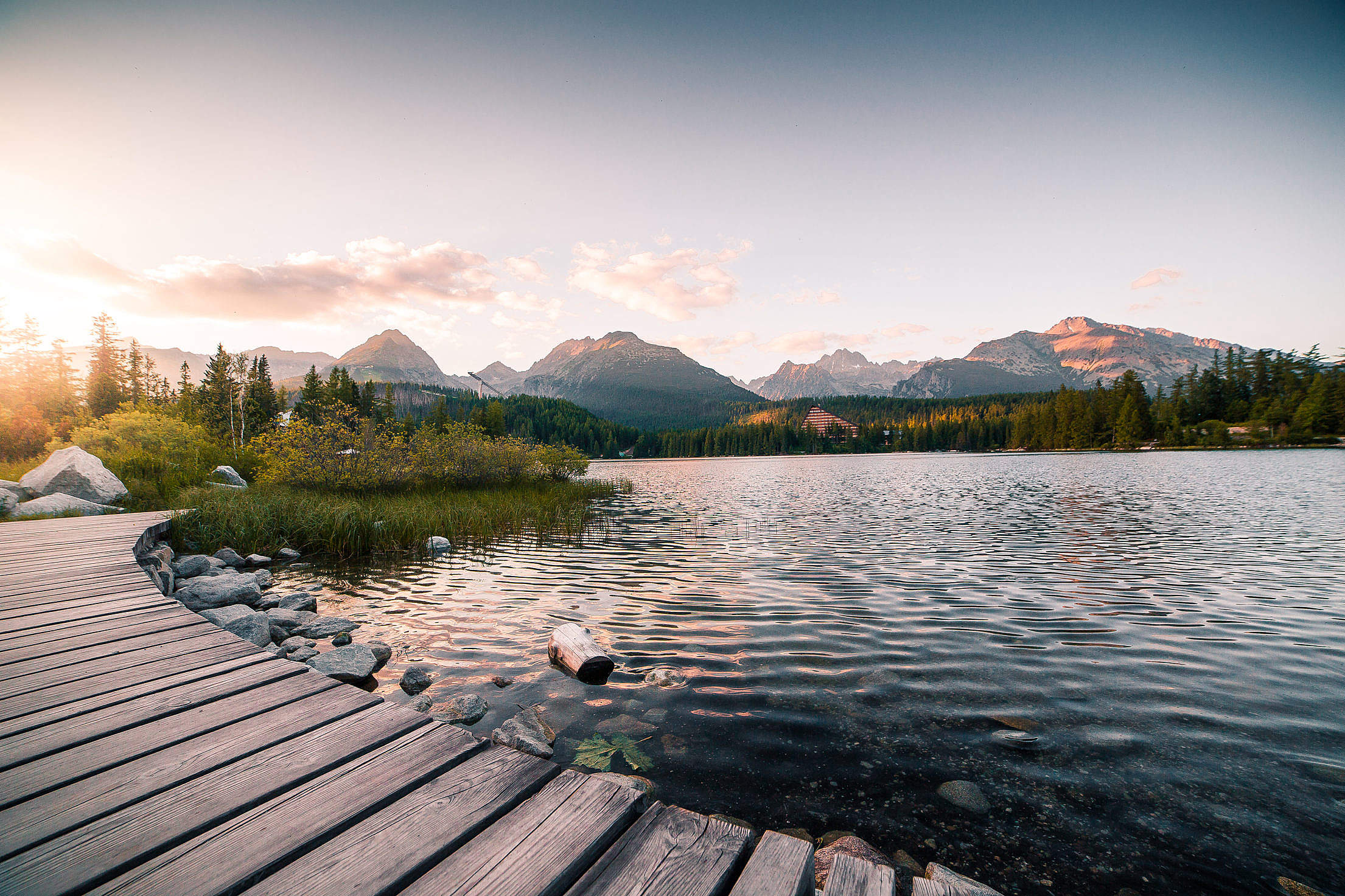 Evening Lake Side in High Tatras Mountains Free Stock Photo