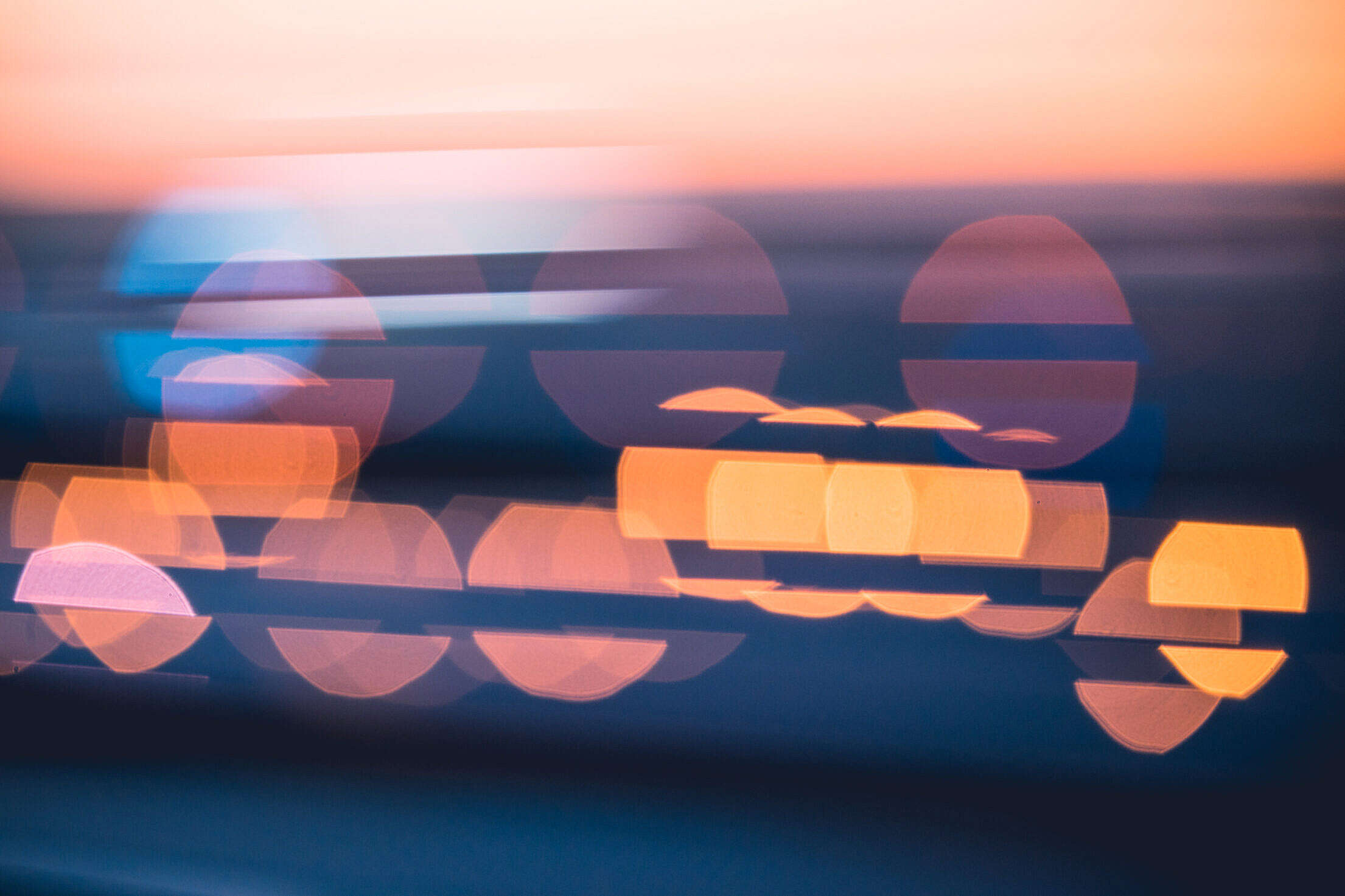 Evening Sunset Abstract Blue City Lights Bokeh Free Stock Photo