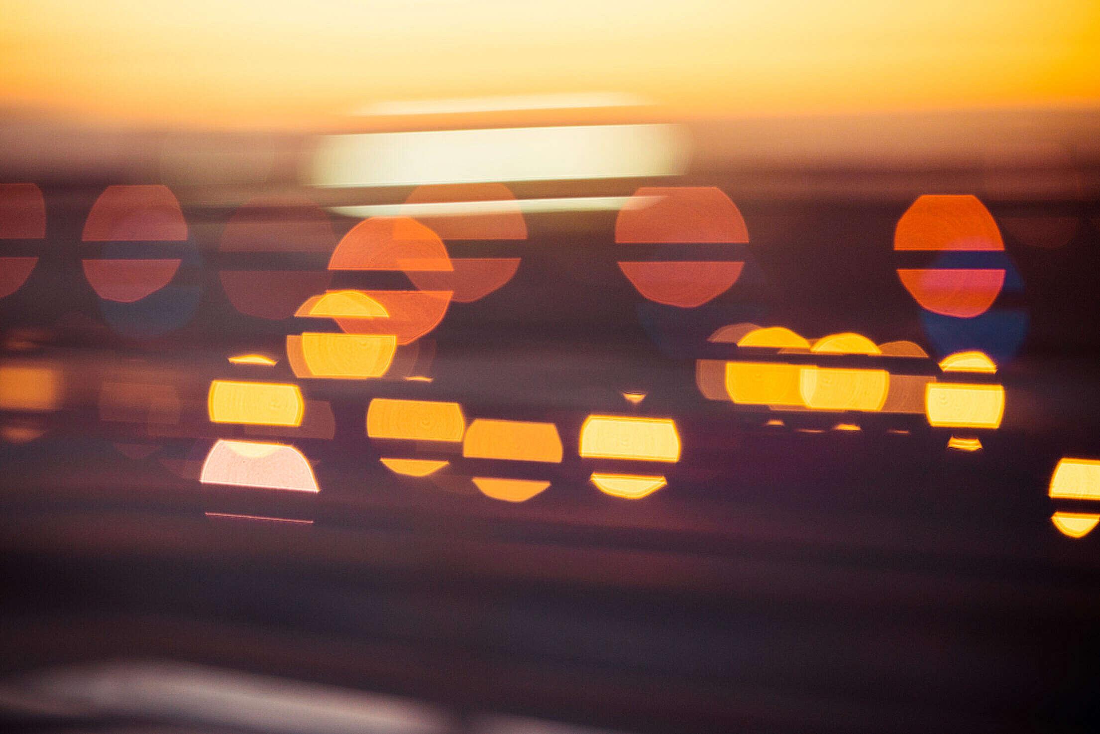 Evening Sunset Abstract City Lights Bokeh Free Stock Photo