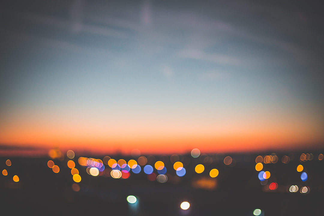 Download Evening Sunset Bokeh Cityscape FREE Stock Photo